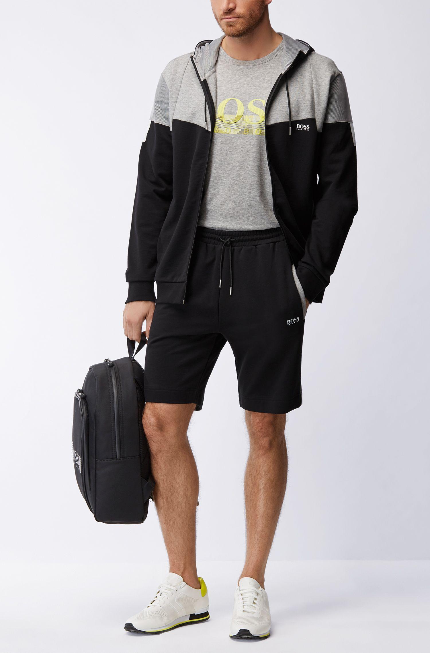 Trainings-Shorts aus Baumwolle mit Mesh-Bahnen