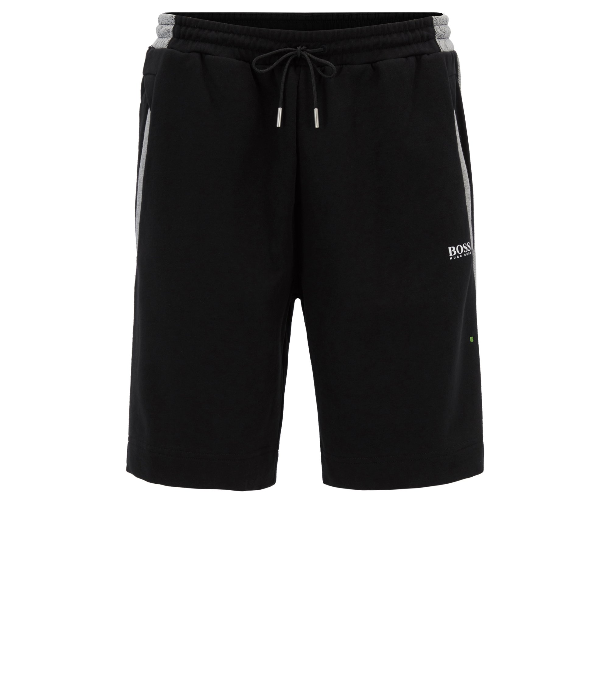 Cotton track shorts with mesh panels, Black