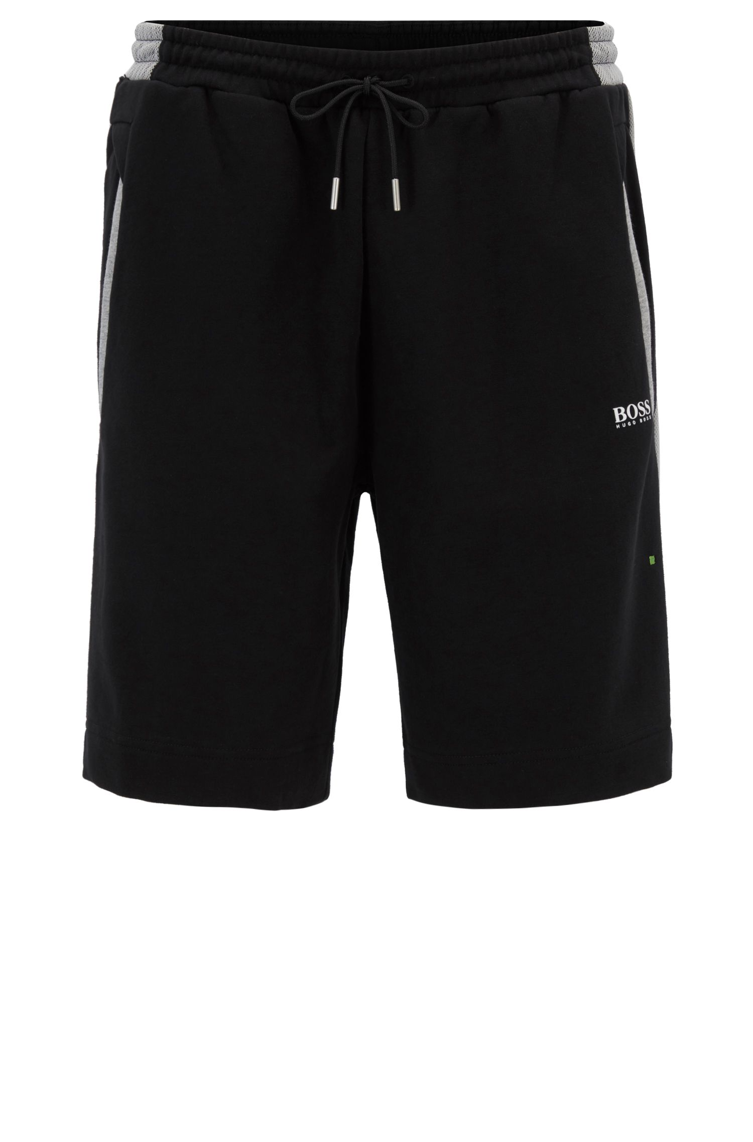 Cotton track shorts with mesh panels