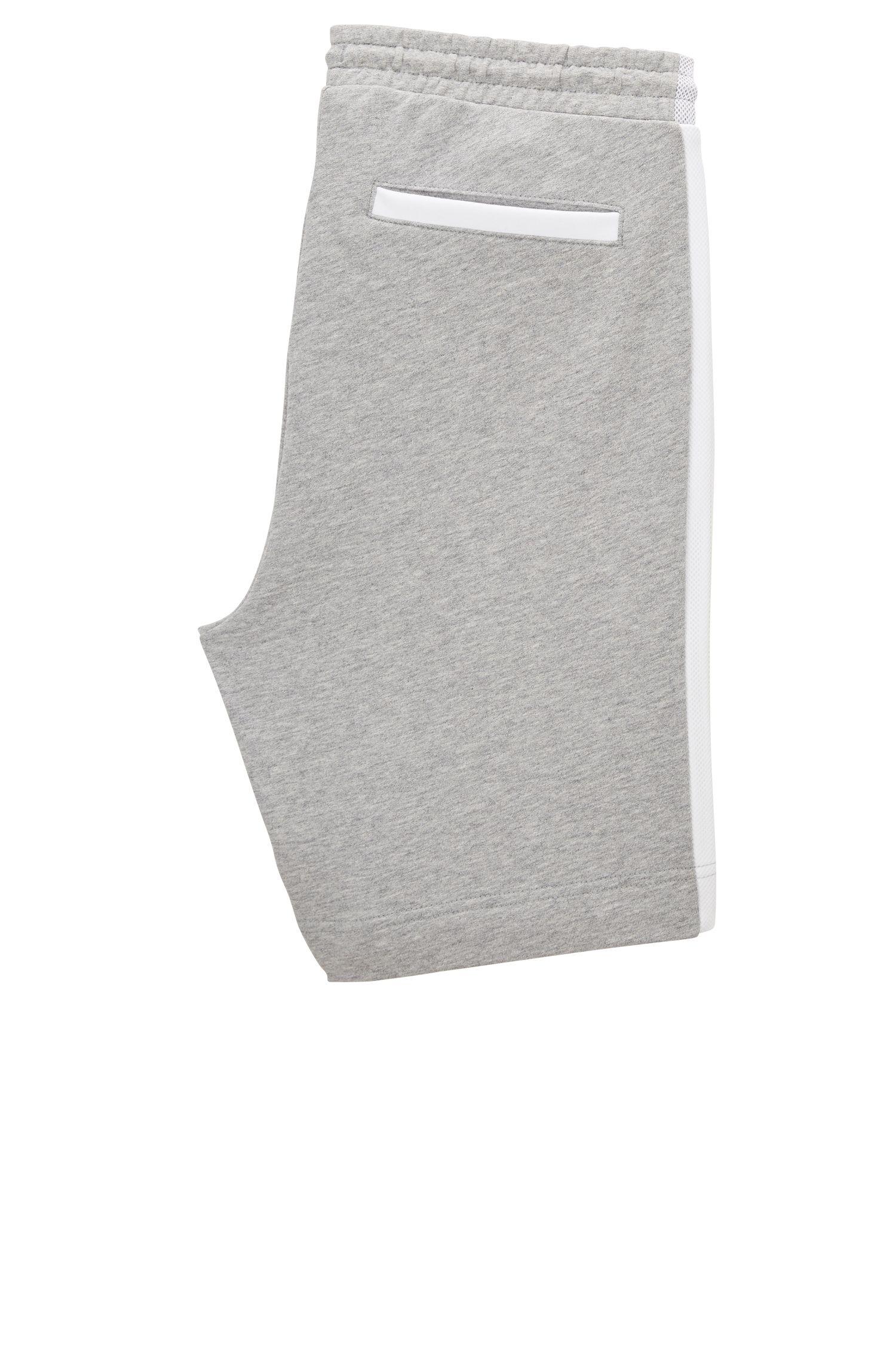 Short de survêtement en coton à empiècements en mesh