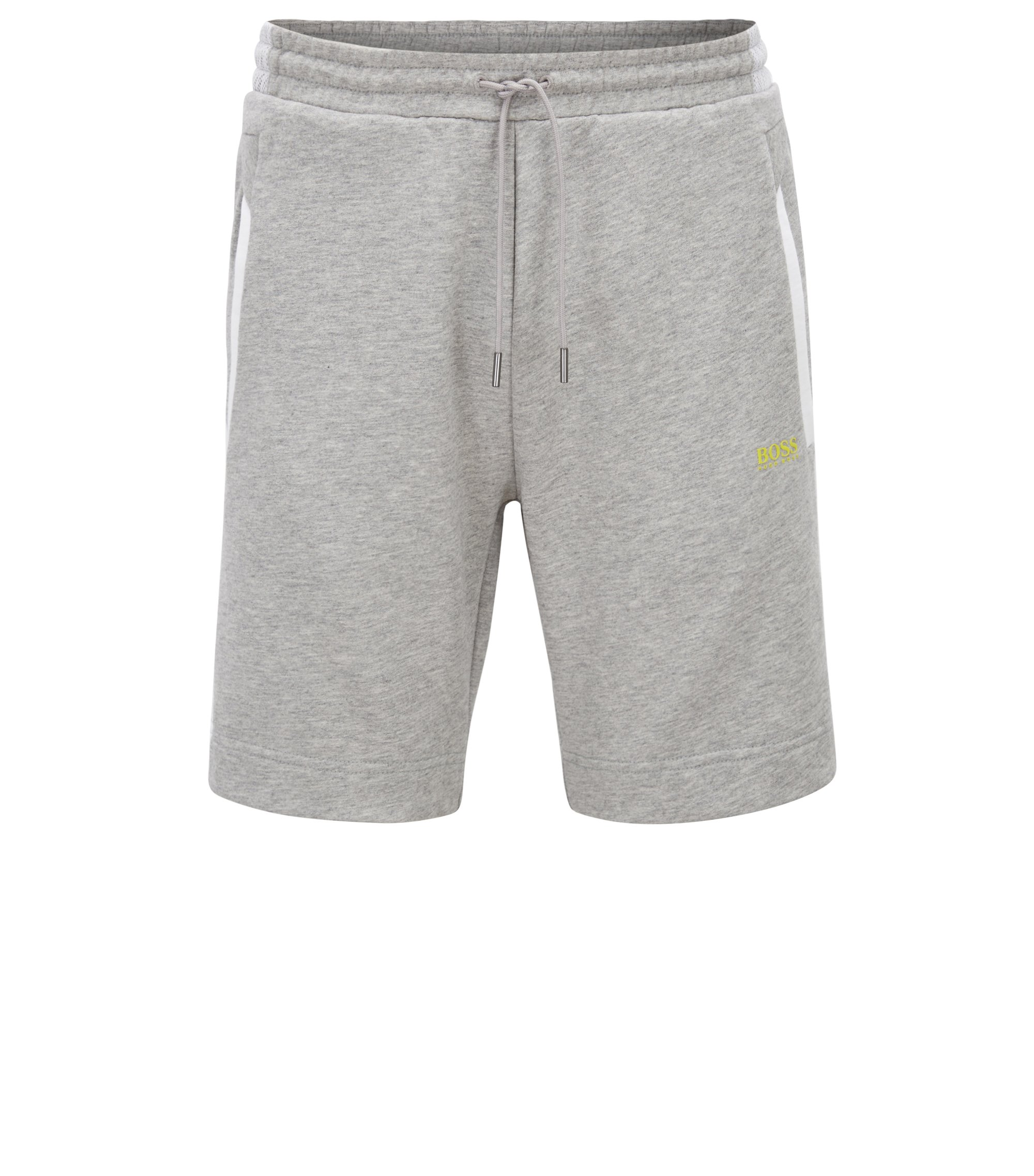 Cotton track shorts with mesh panels, Light Grey