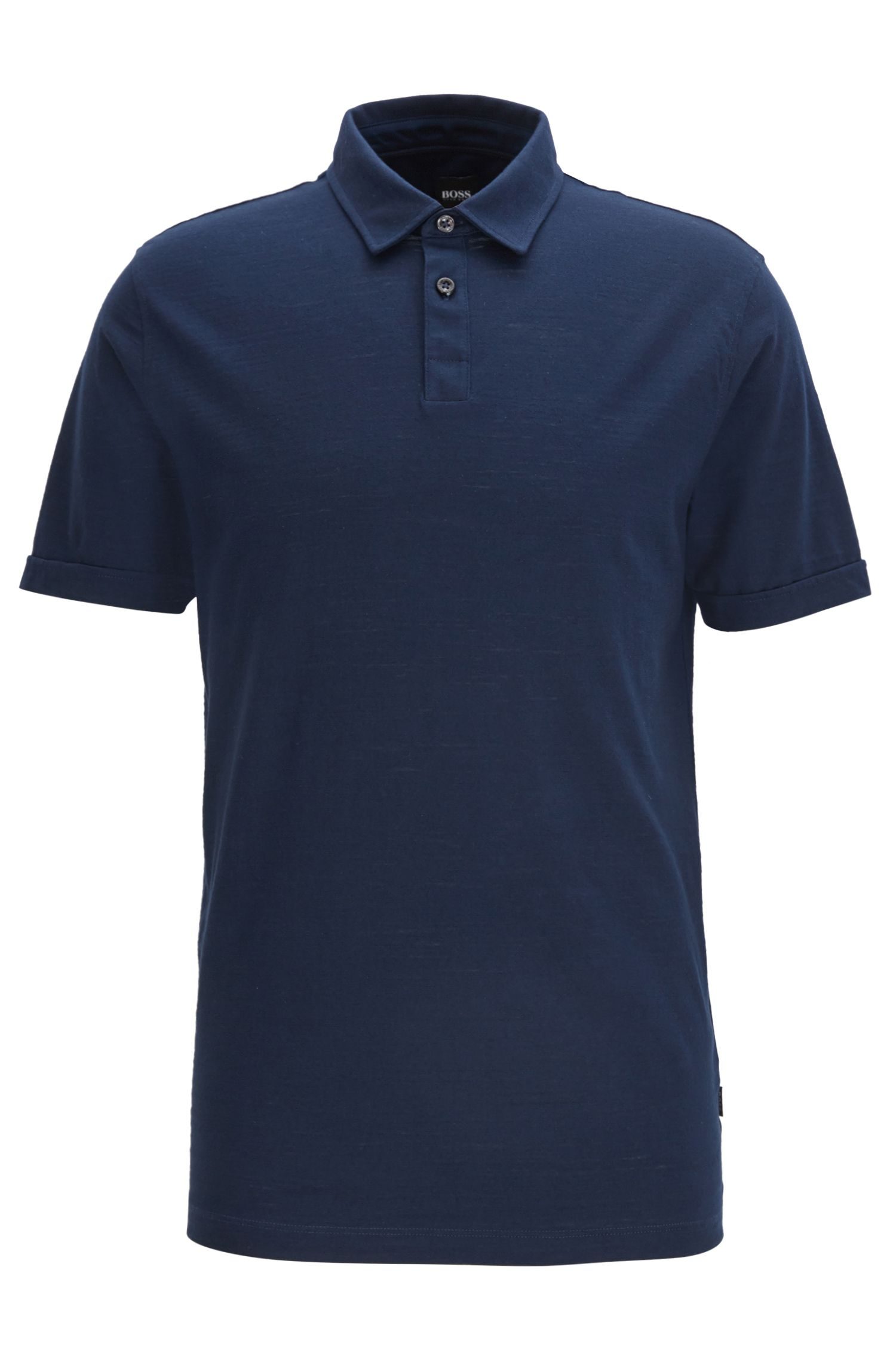Short-sleeved polo shirt in mercerised single jersey