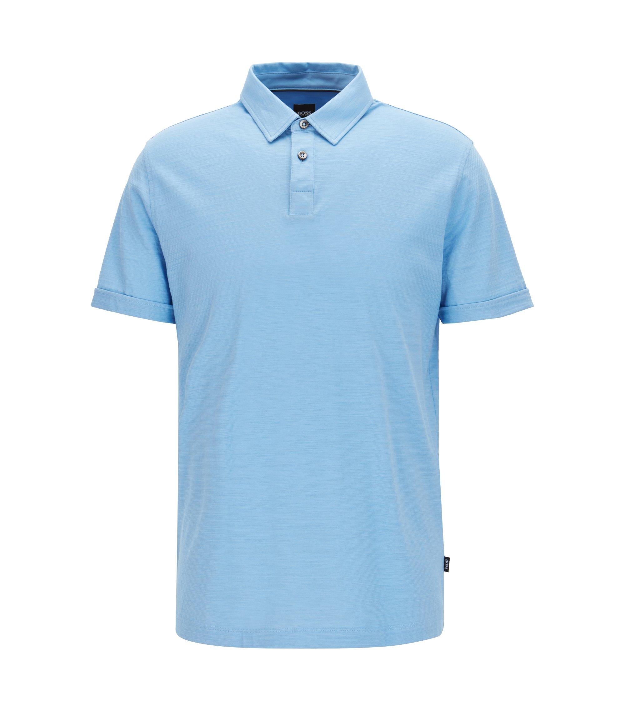 Poloshirt aus merzerisiertem Single Jersey, Hellblau