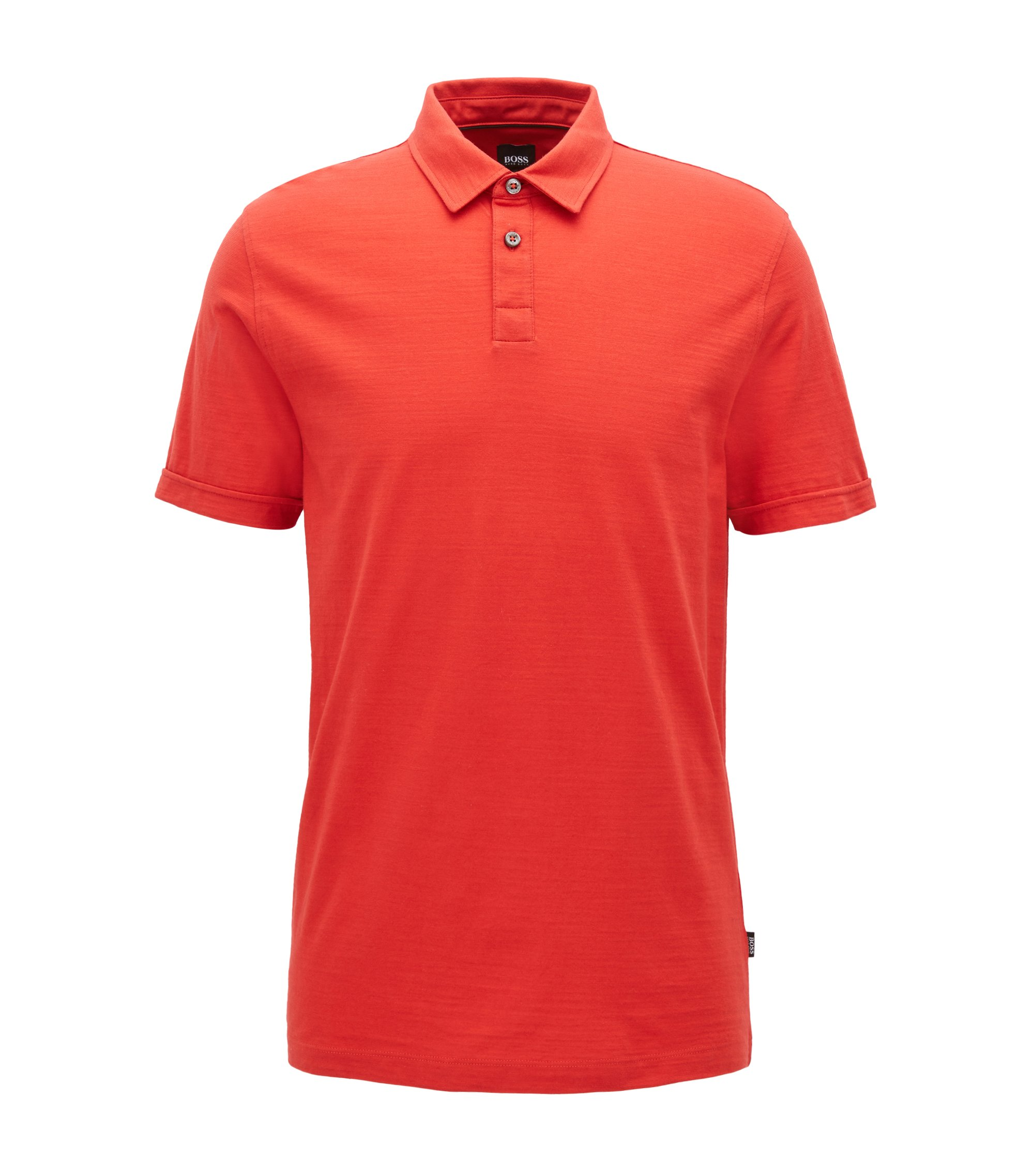 Short-sleeved polo shirt in mercerised single jersey, Dark pink