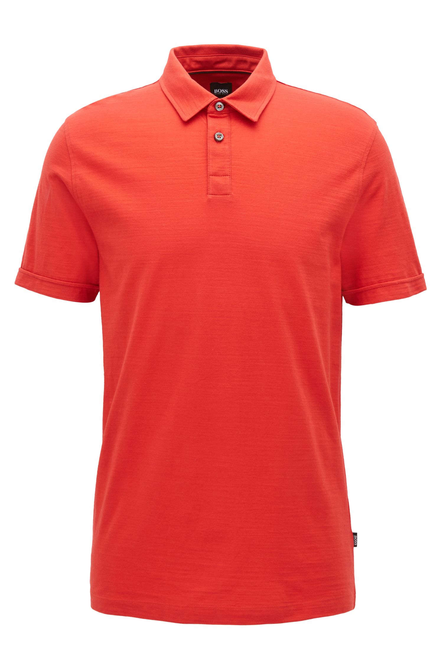Short-sleeved polo shirt in mercerised single jersey