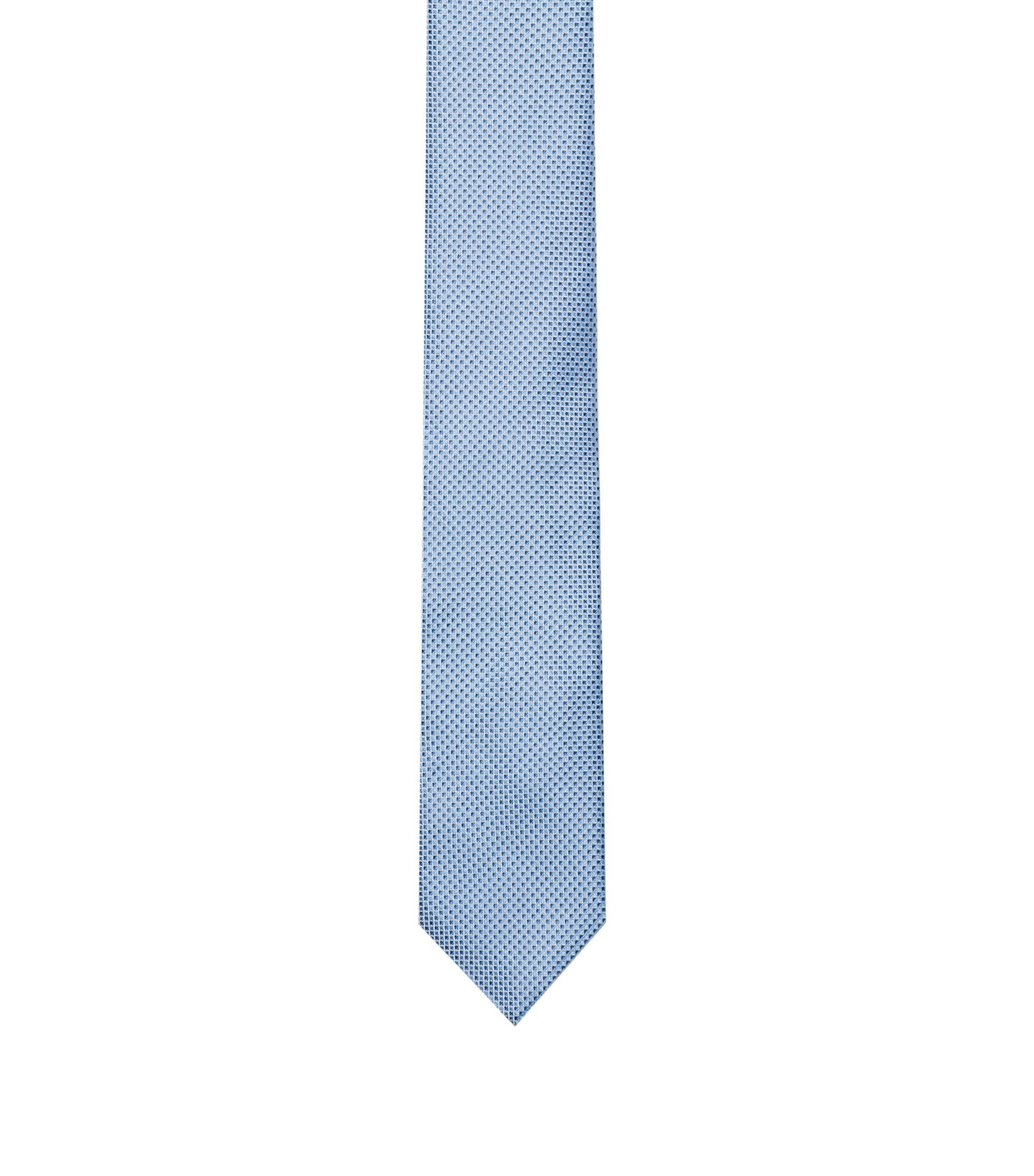 Micro-pattern tie in silk jacquard, Light Blue