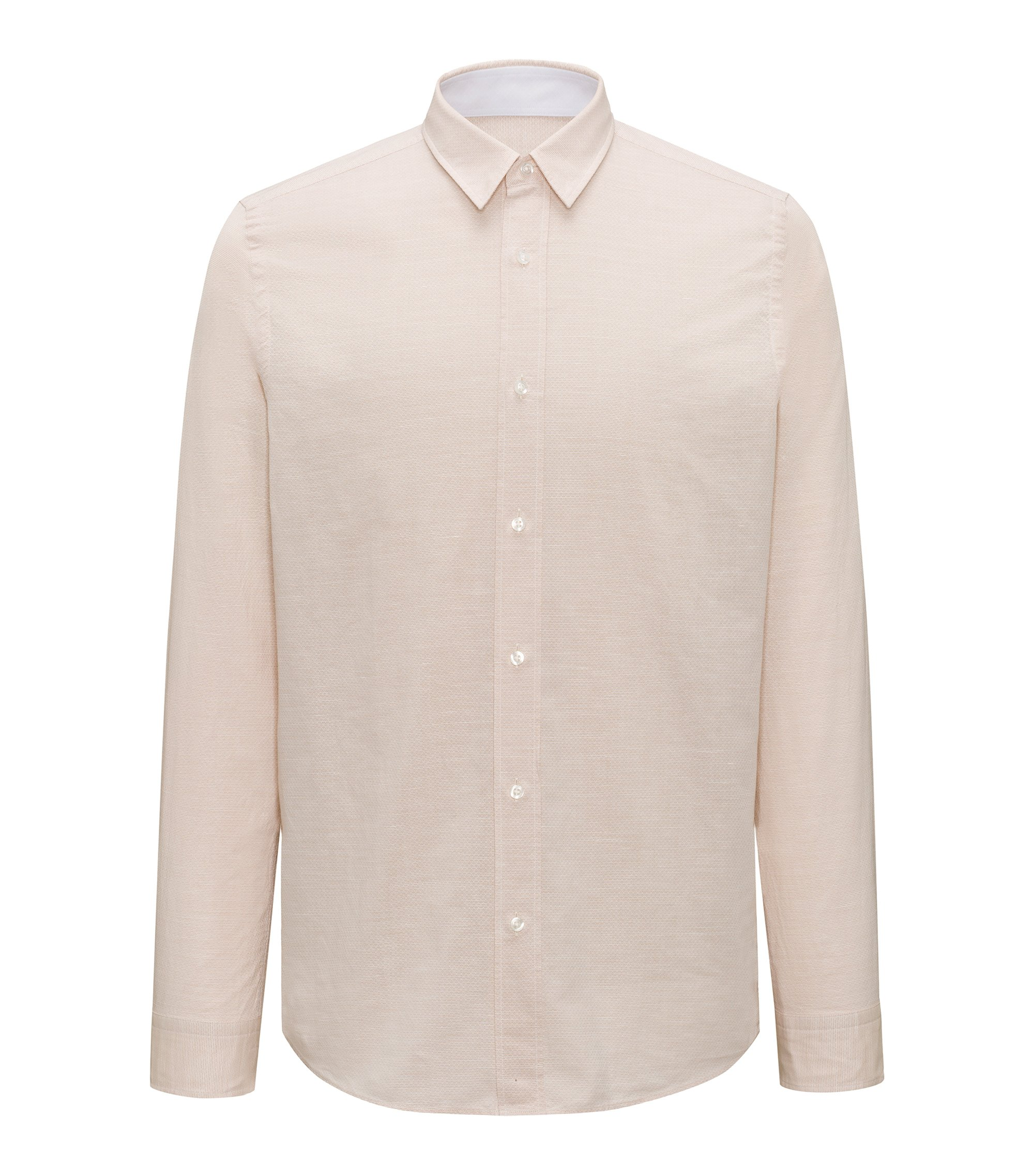 Relaxed-fit shirt in a cotton blend, Beige