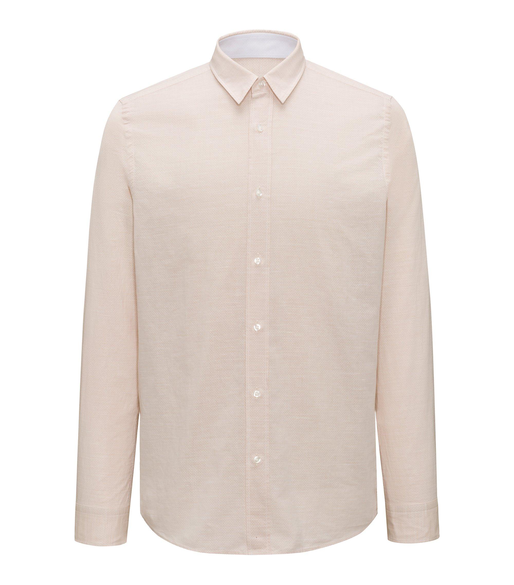Relaxed-fit overhemd van een katoenmix, Beige