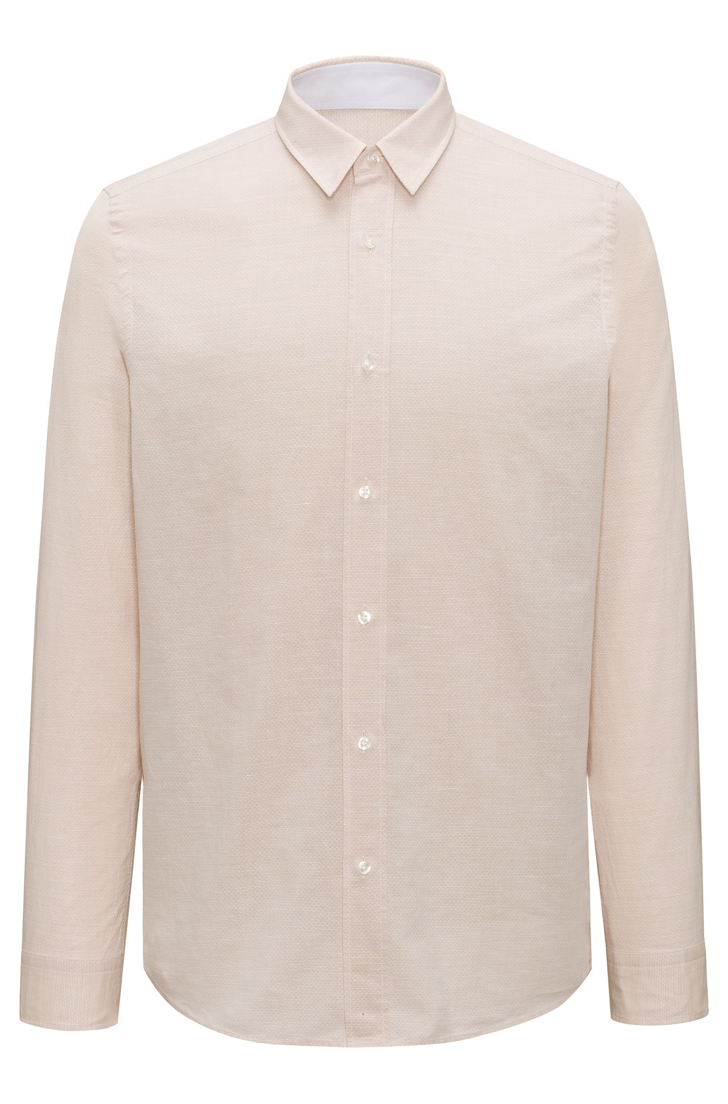 Camicia relaxed fit in misto cotone, Beige