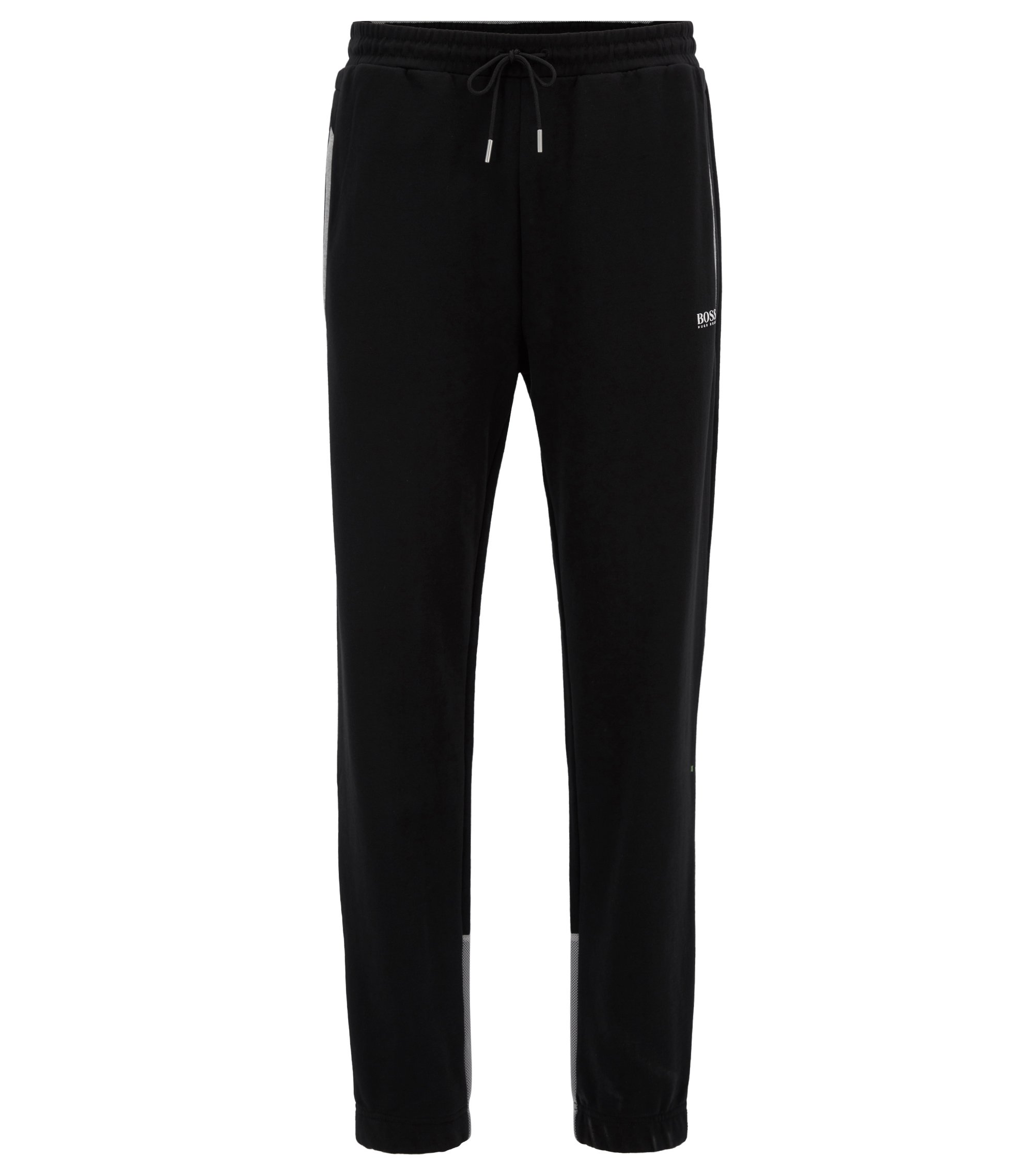 Cotton jogging bottoms with mesh panels, Black