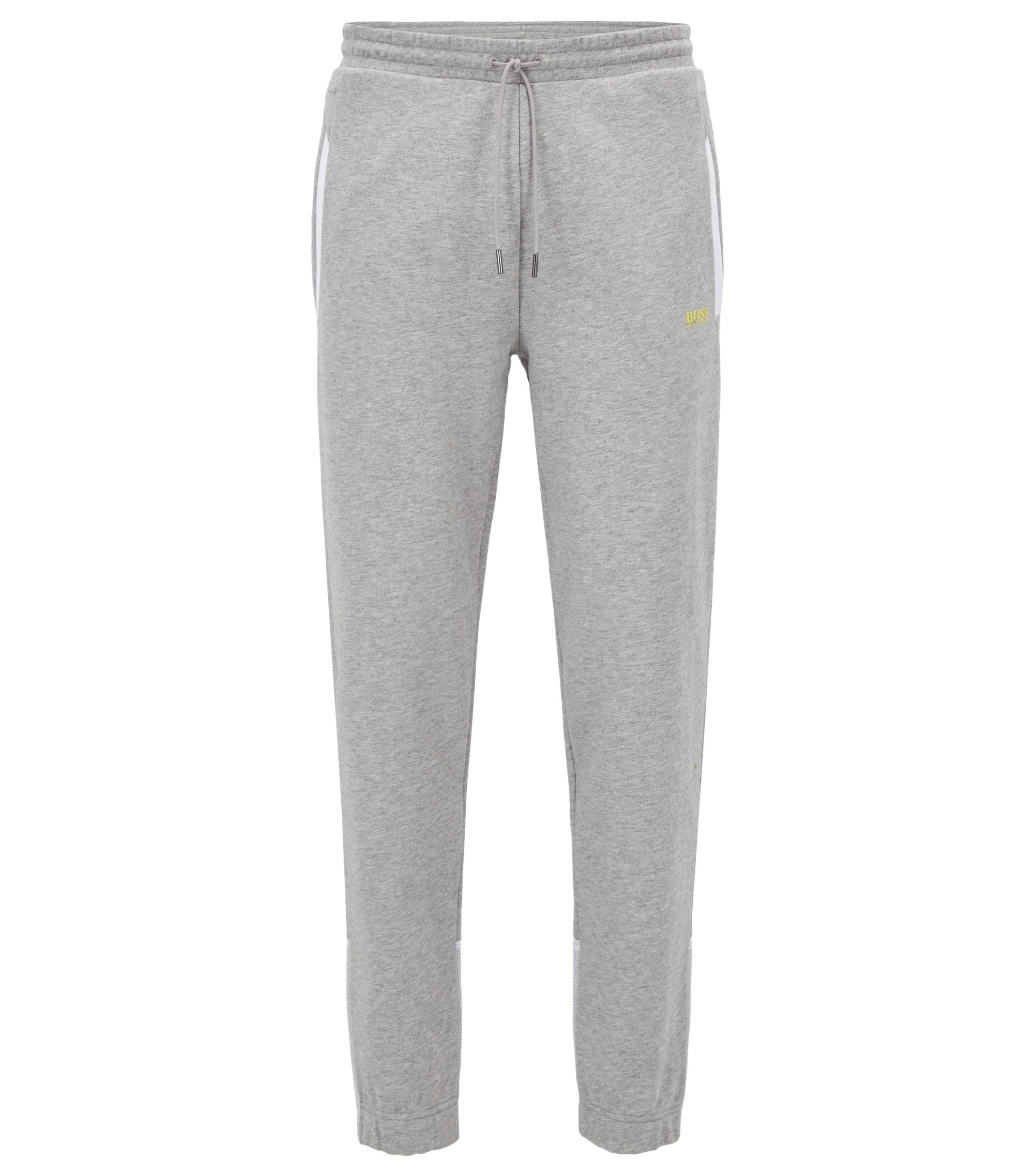 Cotton jogging bottoms with mesh panels, Light Grey
