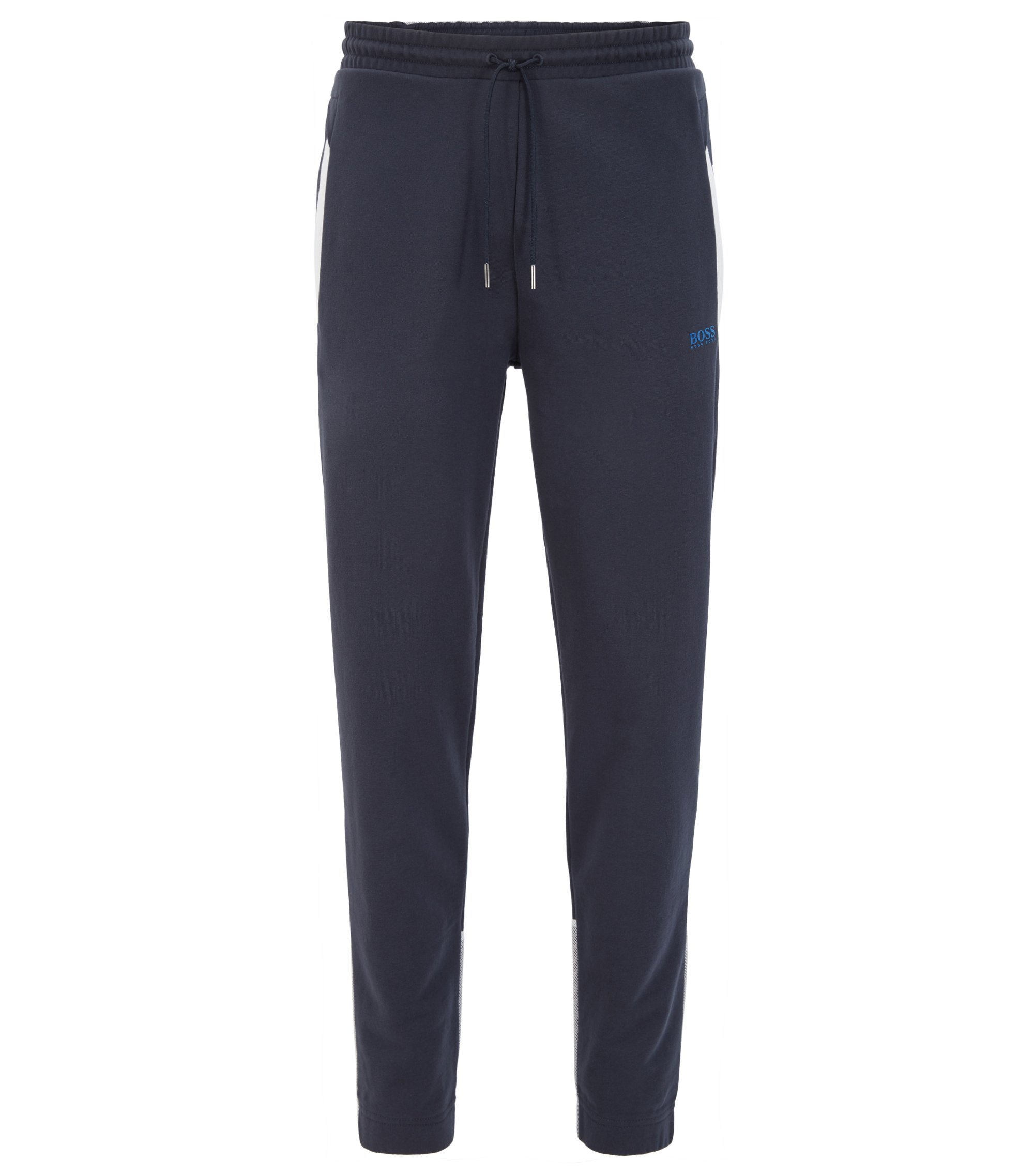 Cotton jogging bottoms with mesh panels, Dark Blue
