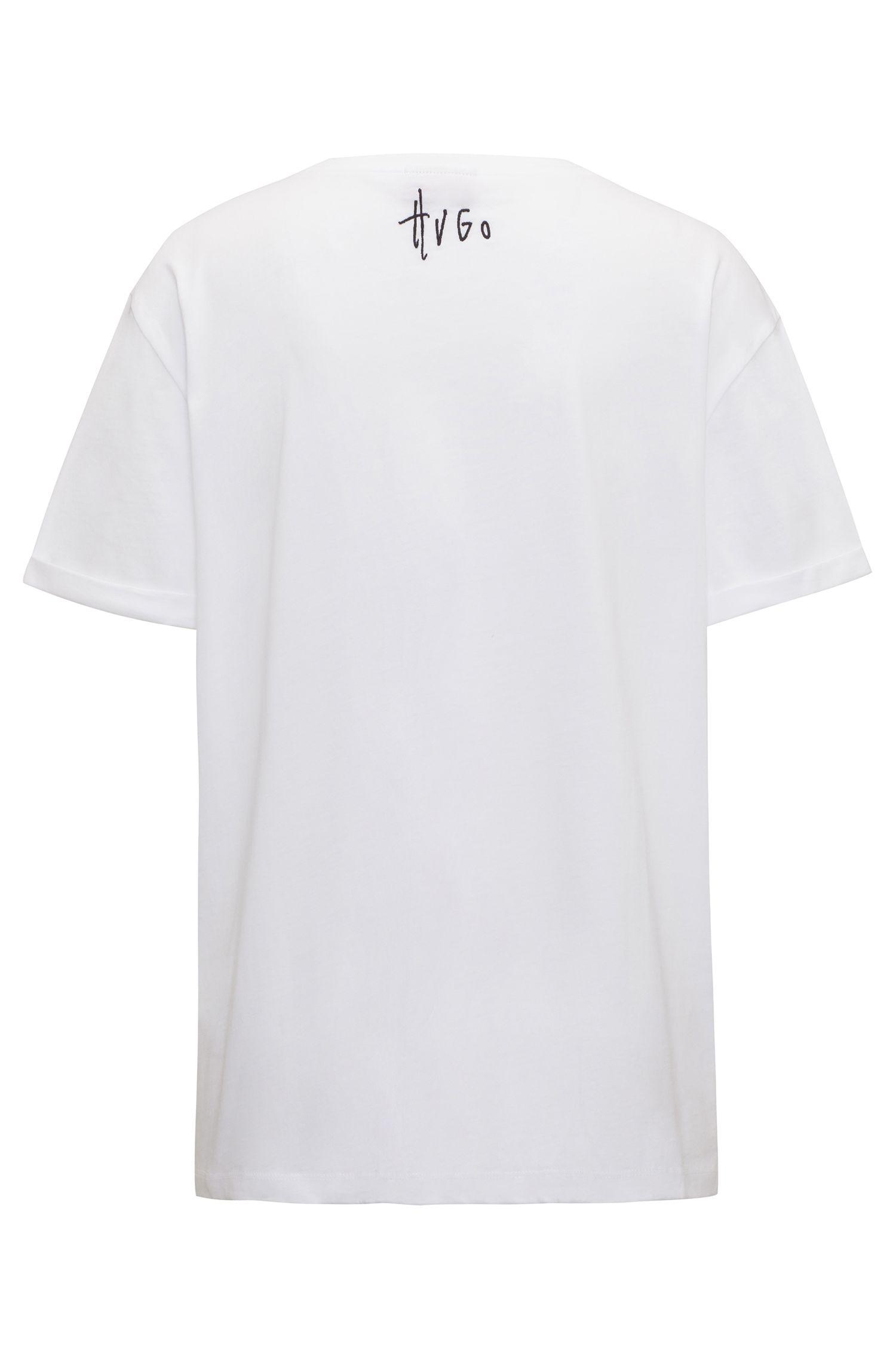 T-shirt relaxed fit in jersey di cotone con slogan impunturati