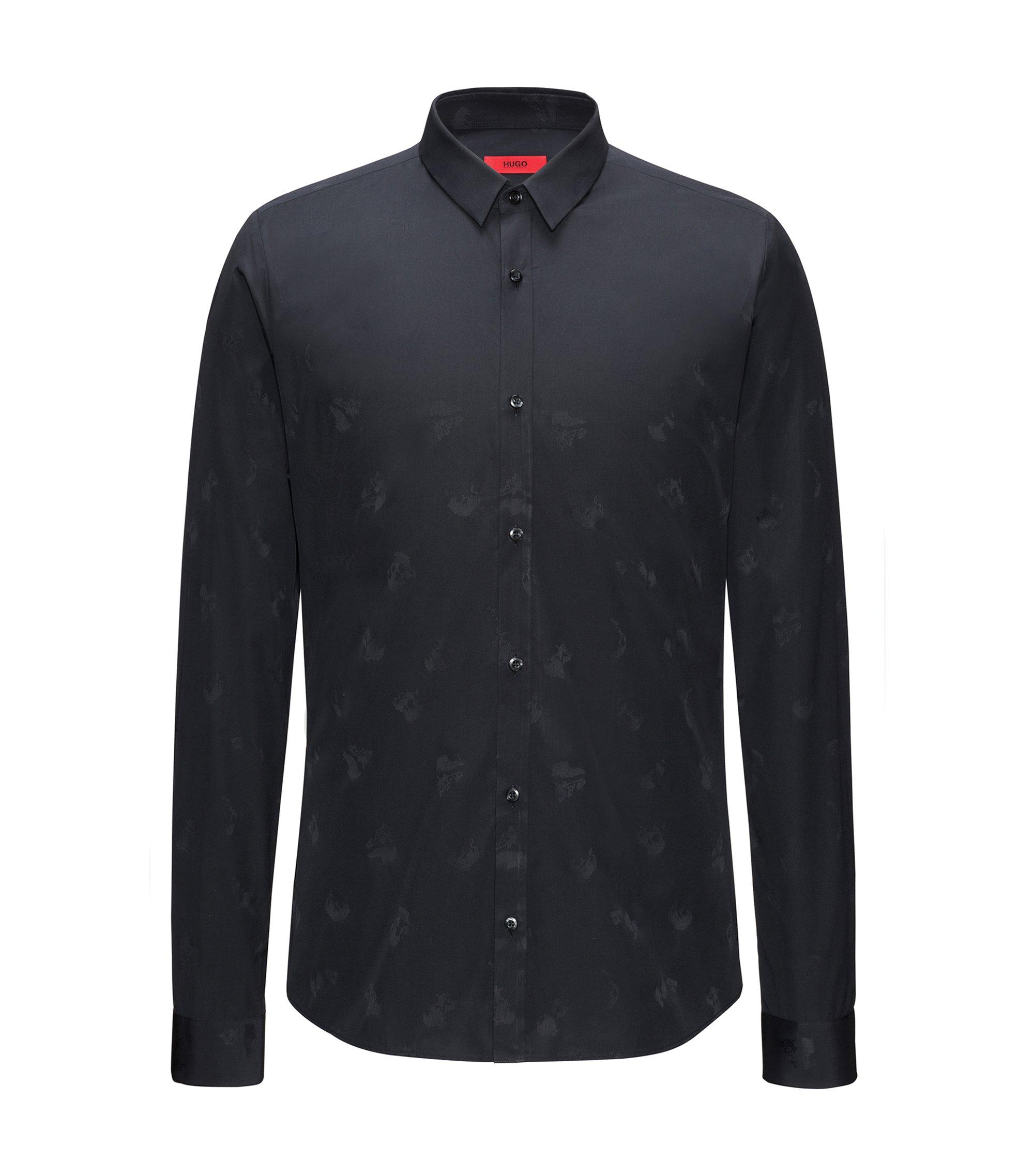 Slim-fit katoenen overhemd met doodskoppen in jacquard , Zwart