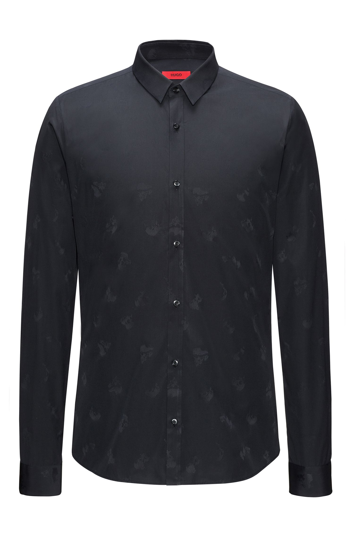Slim-fit cotton shirt with jacquard skulls