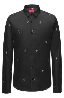 Slim-fit overhemd van katoen met dansende skeletten in fil coupé, Zwart