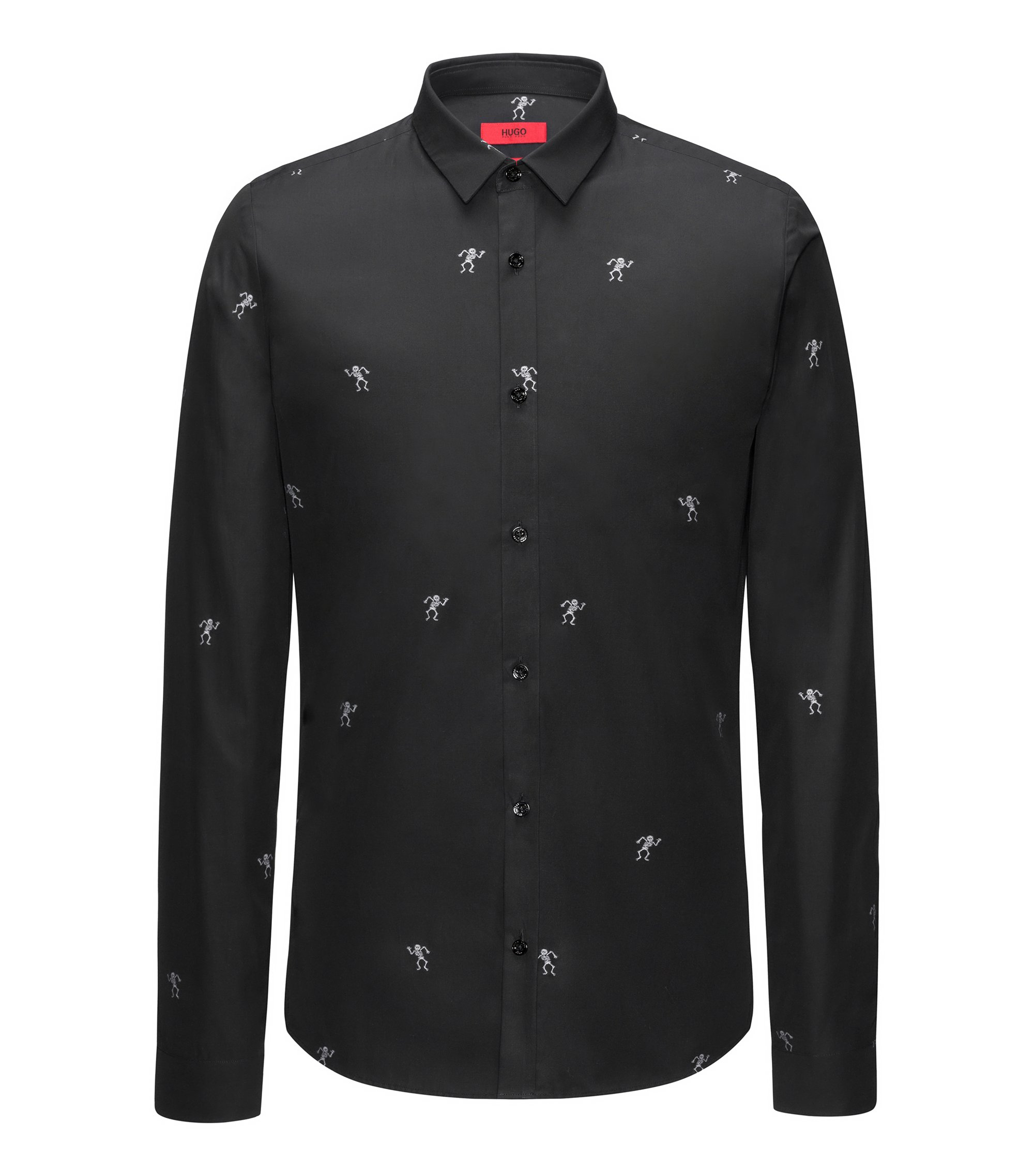 Extra-slim-fit cotton shirt with dancing skeletons fil coupé, Black