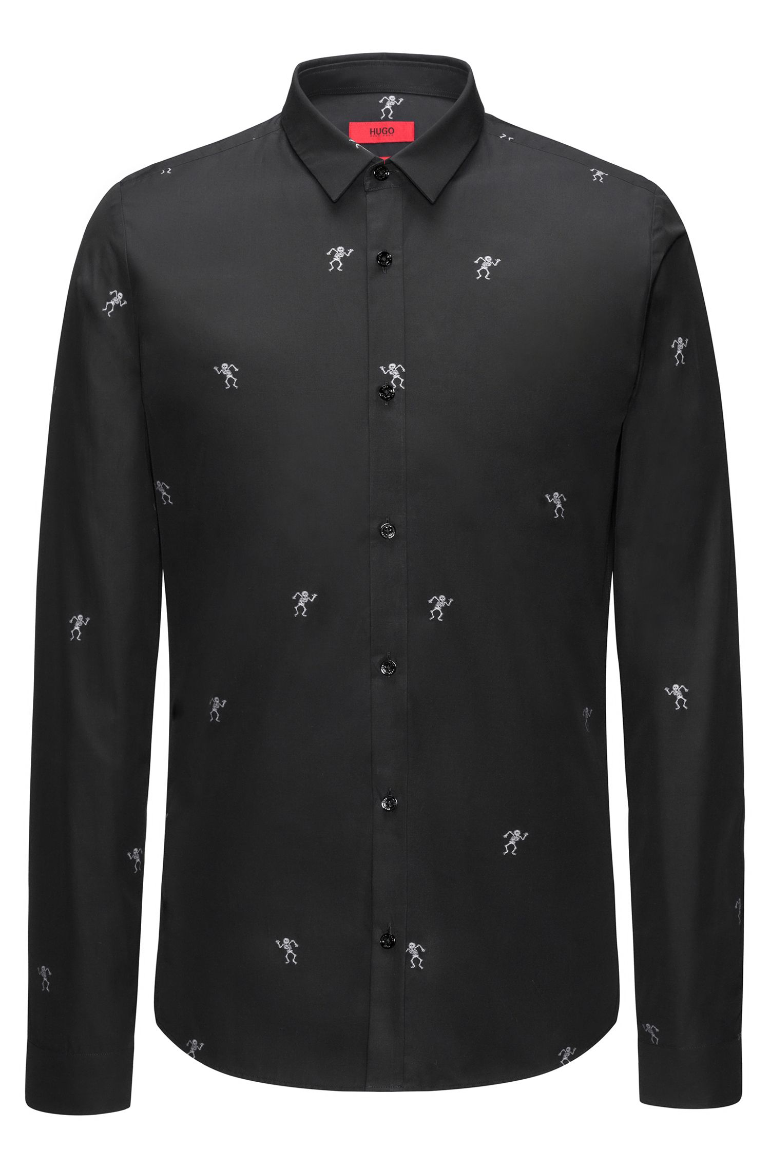 Extra-slim-fit cotton shirt with dancing skeletons fil coupé