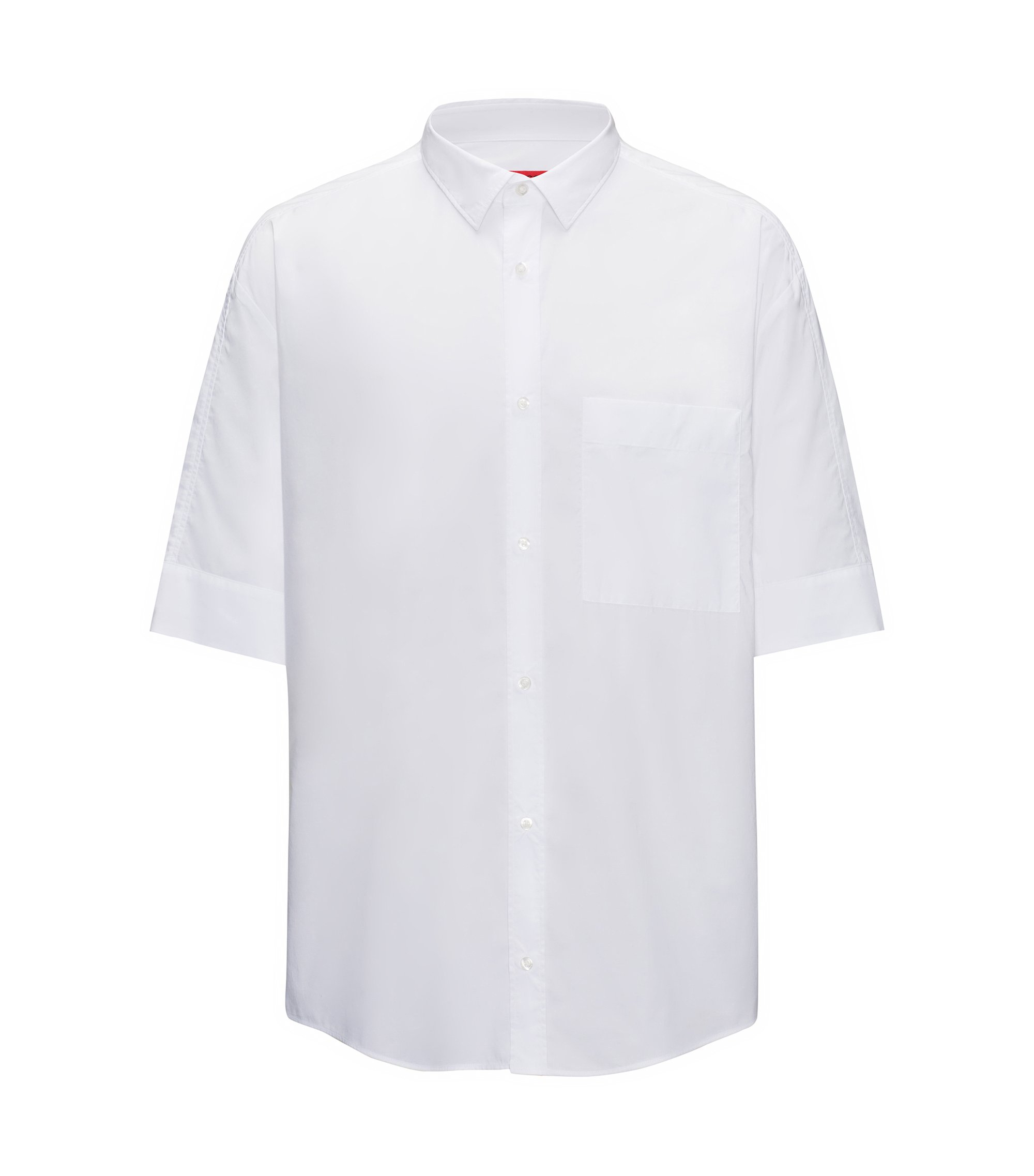 Camisa relaxed fit de algodón con tacto de papel, Blanco