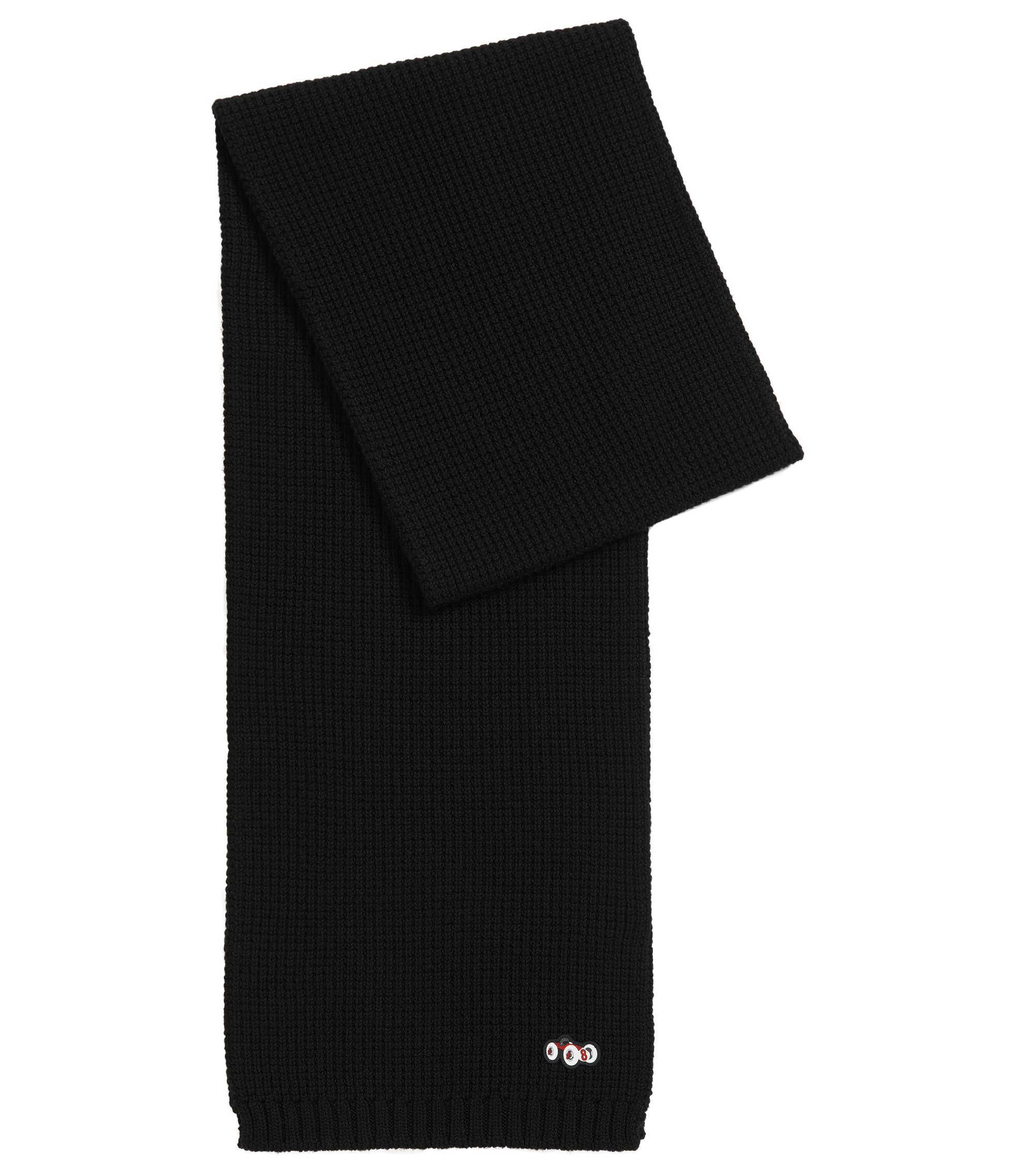 Heavyweight wool scarf with race car detail, Black