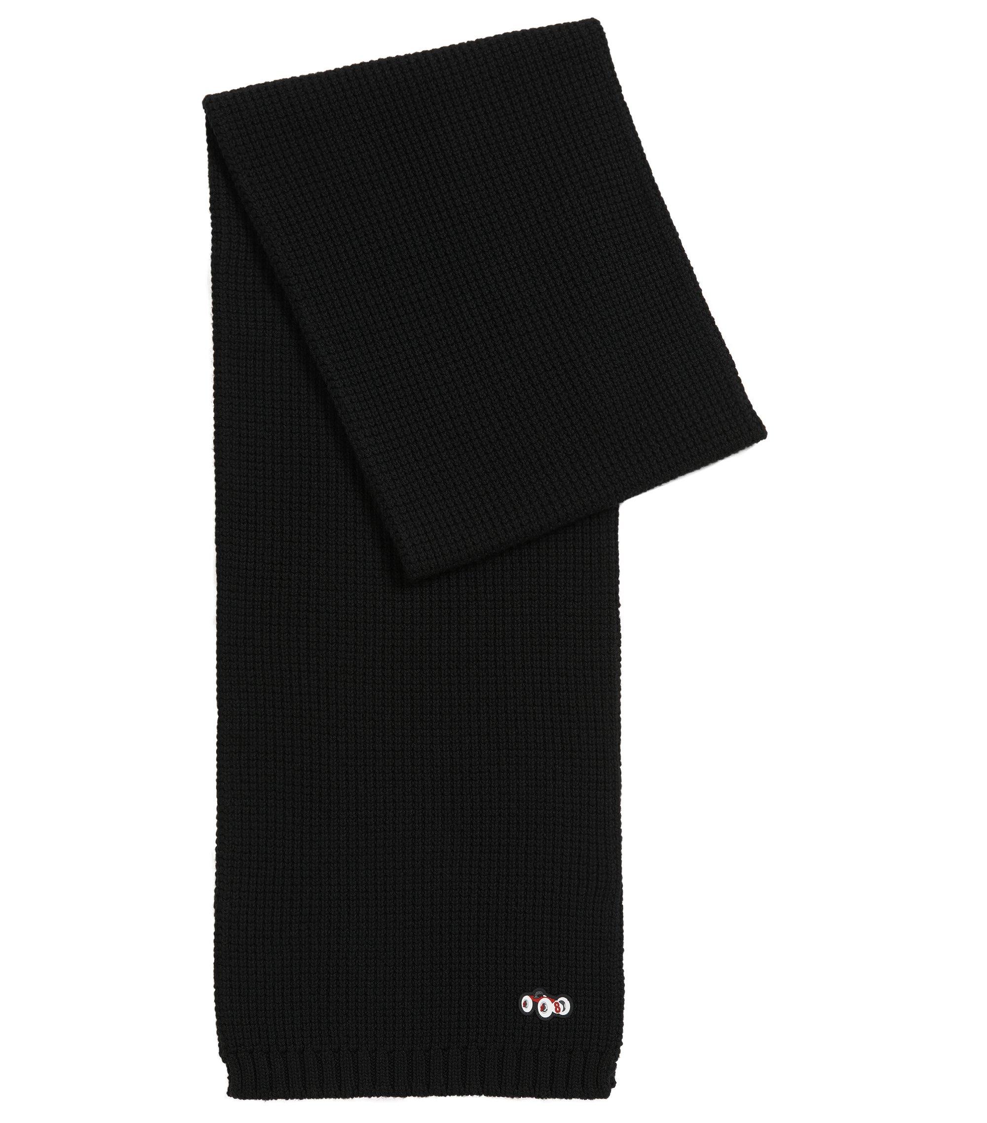 Schal aus schwerer Schurwolle mit Rennwagen-Motiv, Schwarz