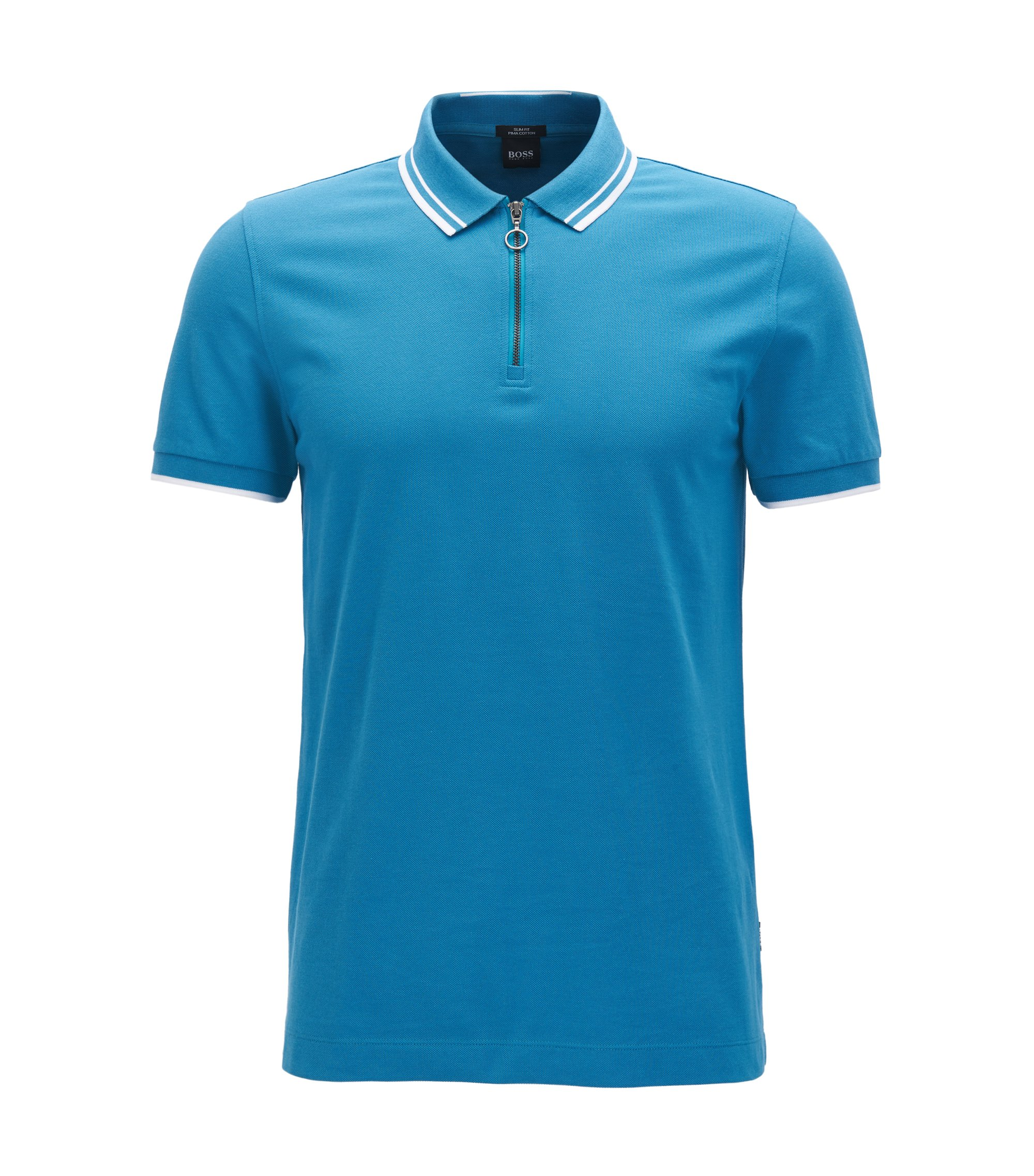 Slim-fit zip-neck cotton polo shirt , Turquoise