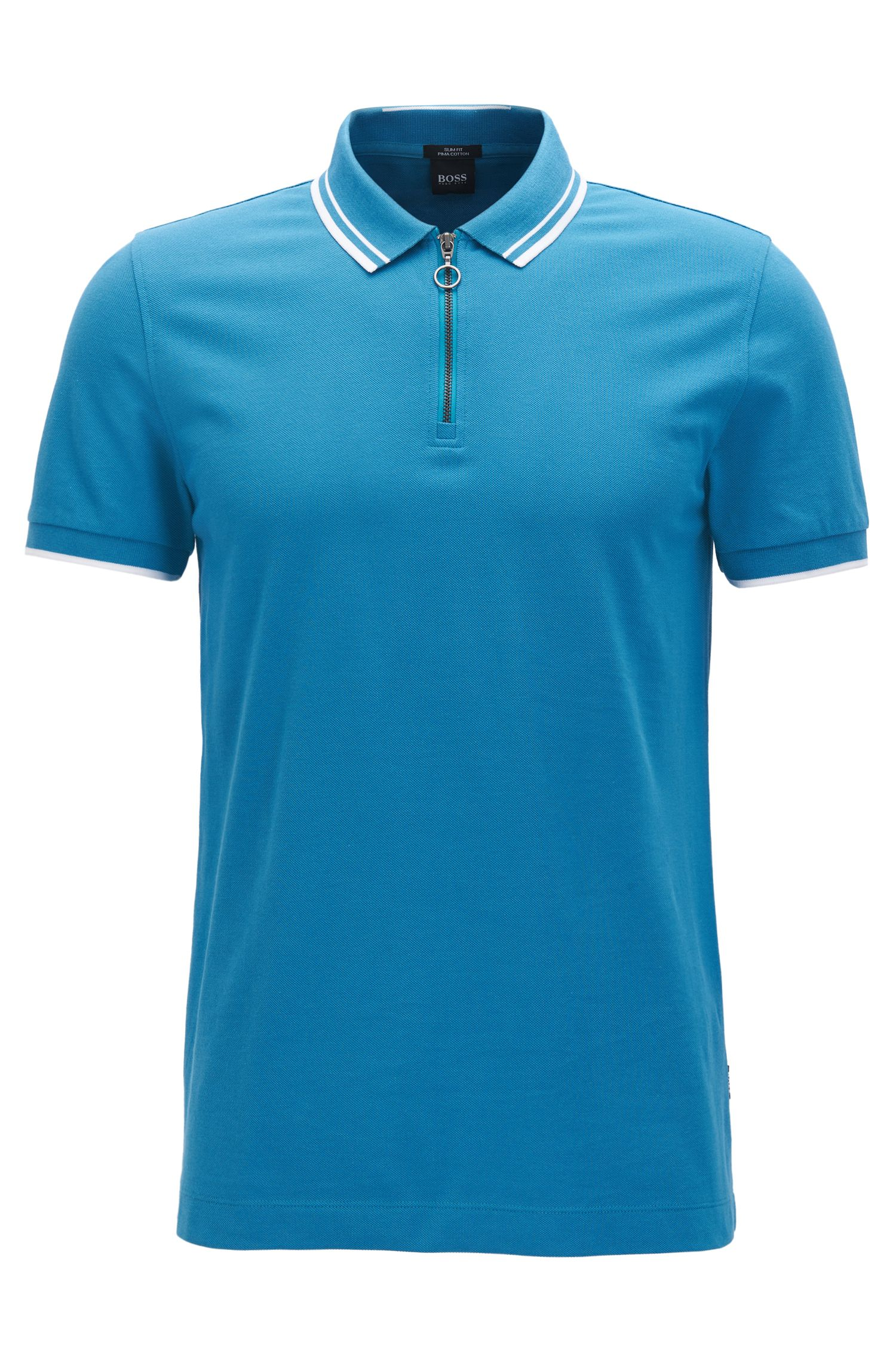 Slim-fit zip-neck cotton polo shirt