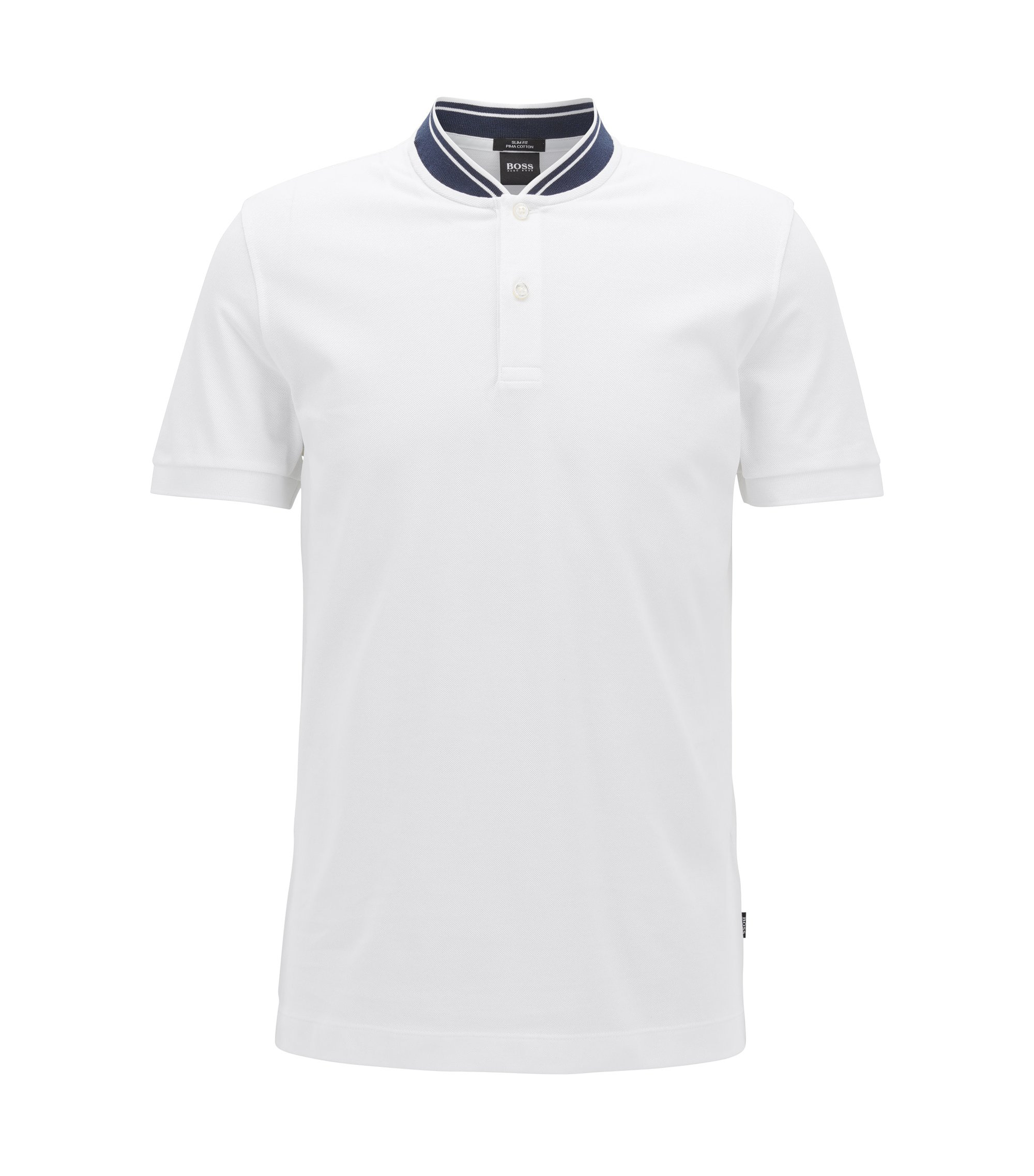 Piqué-cotton Henley shirt in a slim fit , White