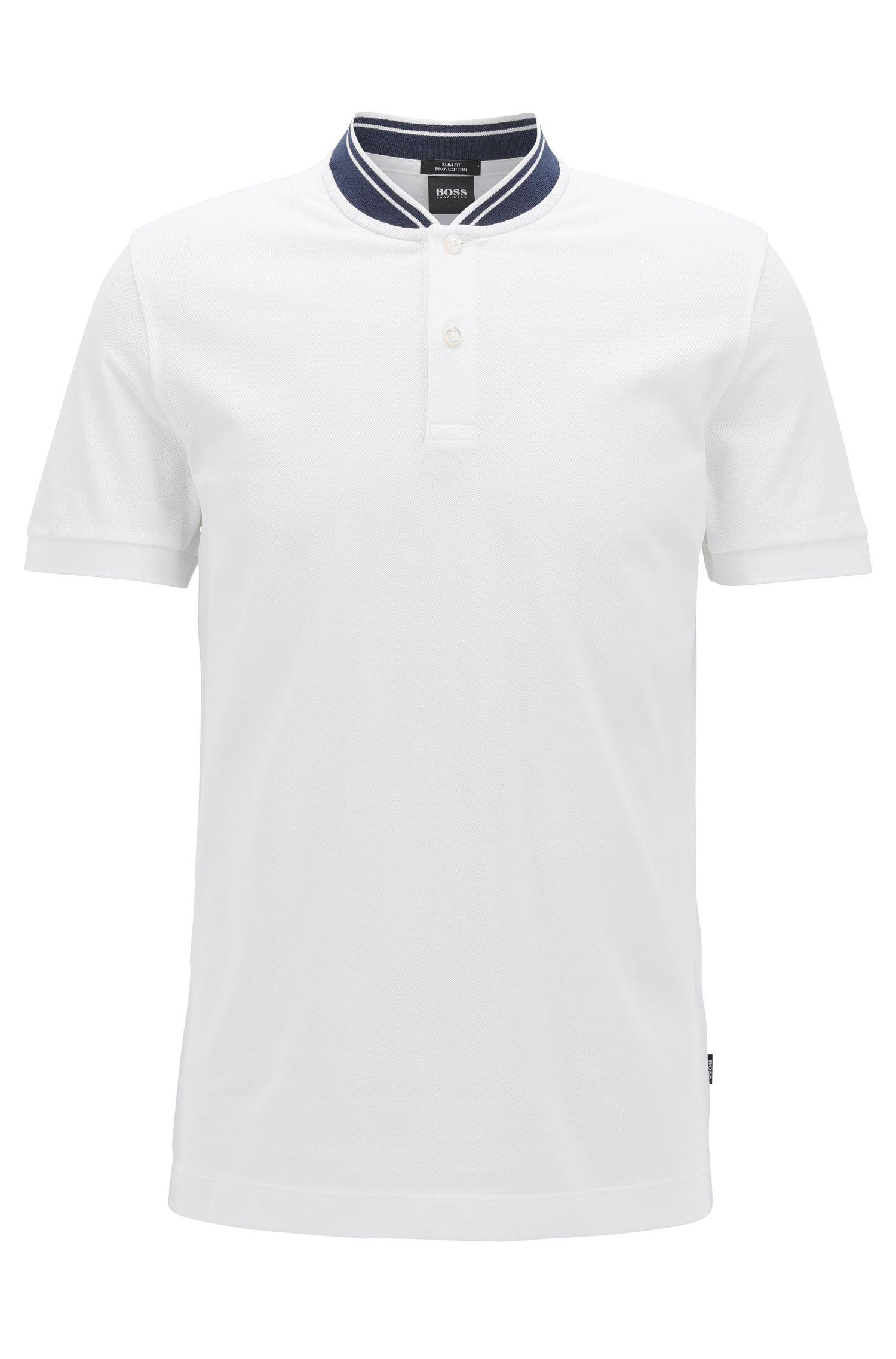 Piqué-cotton Henley shirt in a slim fit