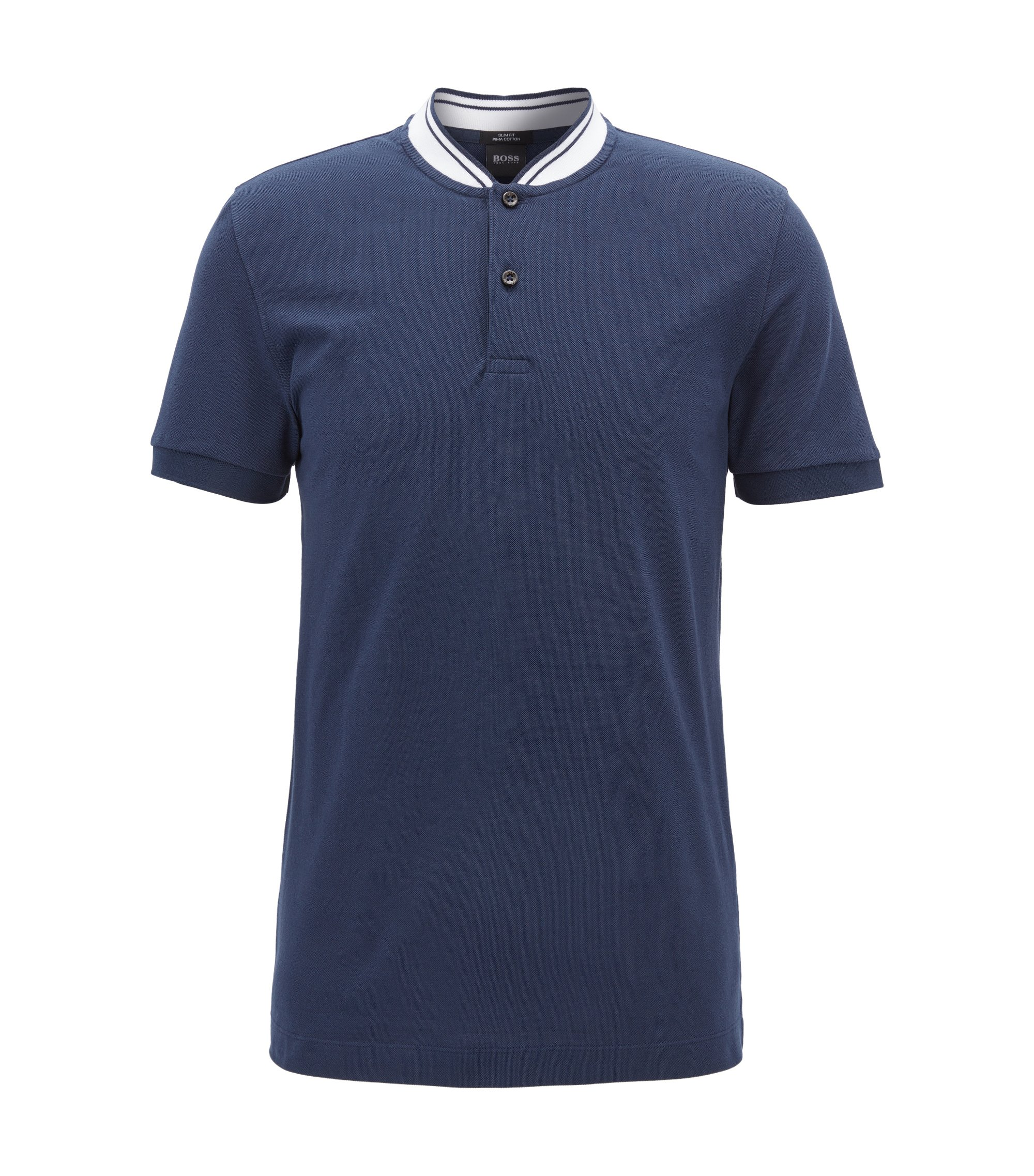Piqué-cotton Henley shirt in a slim fit , Dark Blue