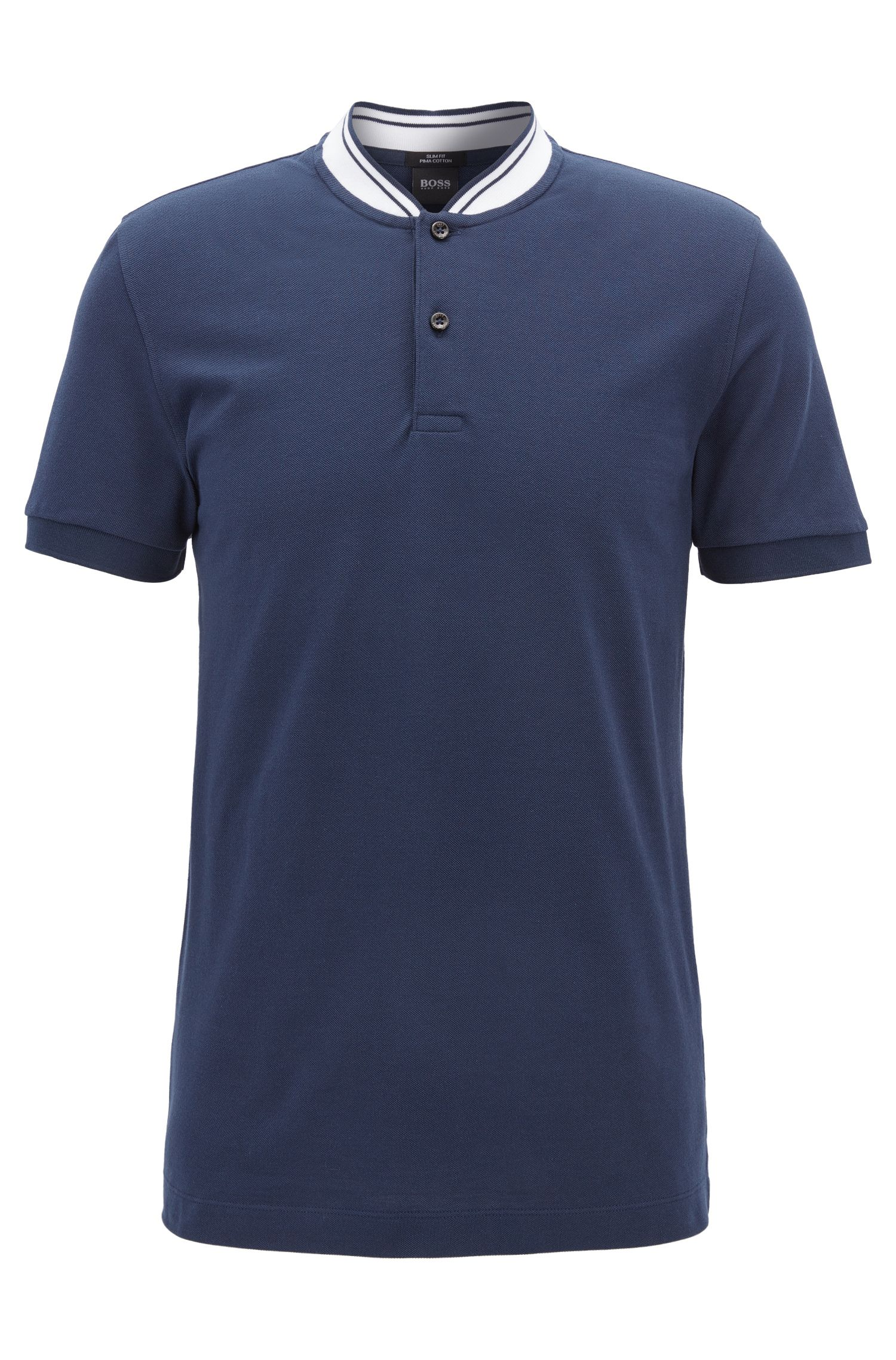 Piqué-cotton Henley shirt in a slim fit