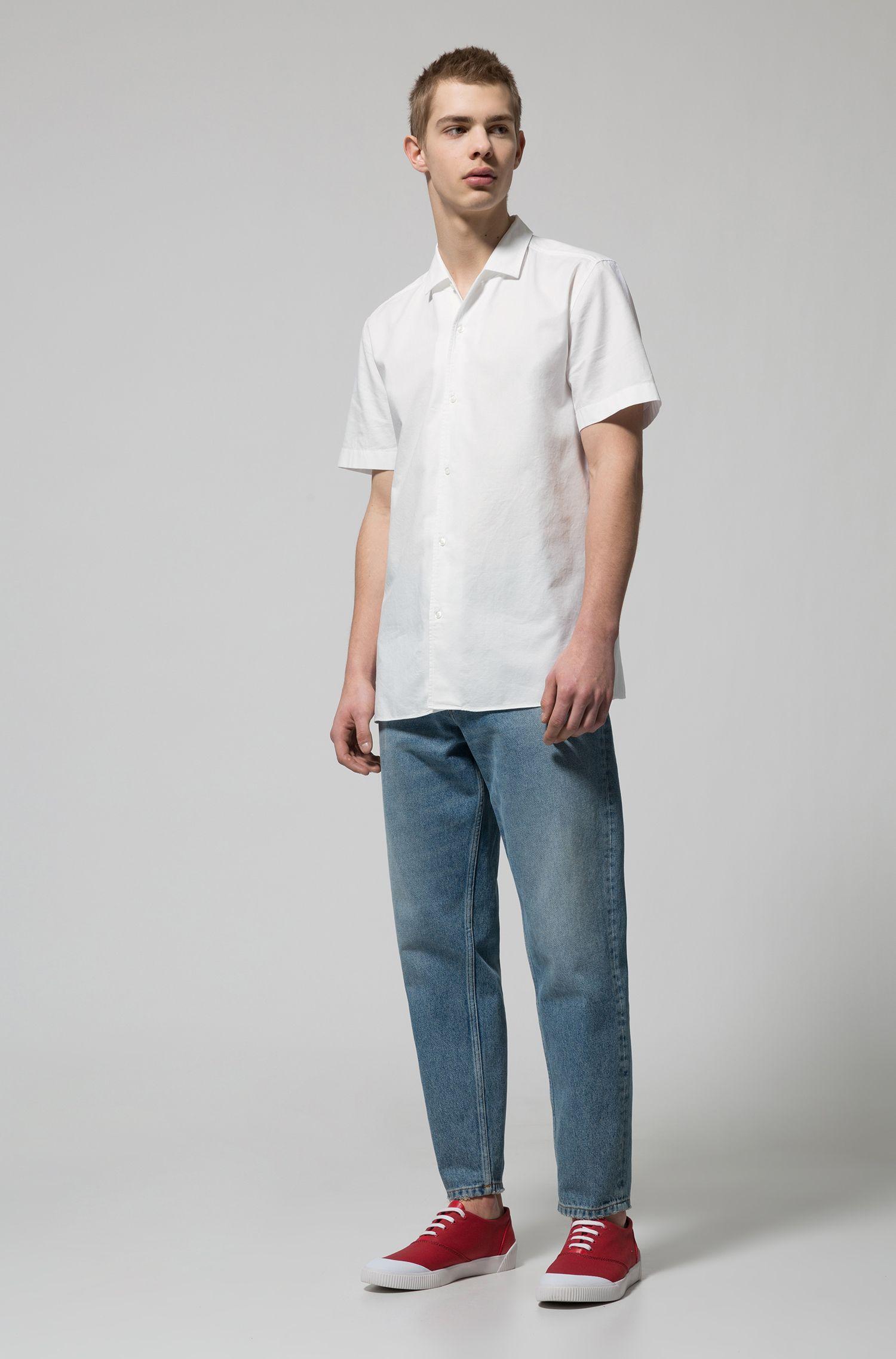 Regular-fit overhemd van gestructureerde katoen met korte mouwen