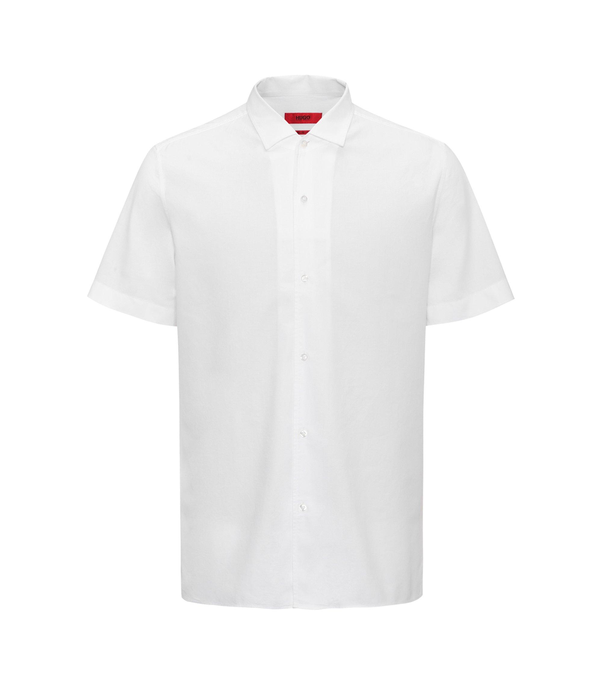 Regular-Fit Kurzarm-Hemd aus strukturierter Baumwolle, Weiß