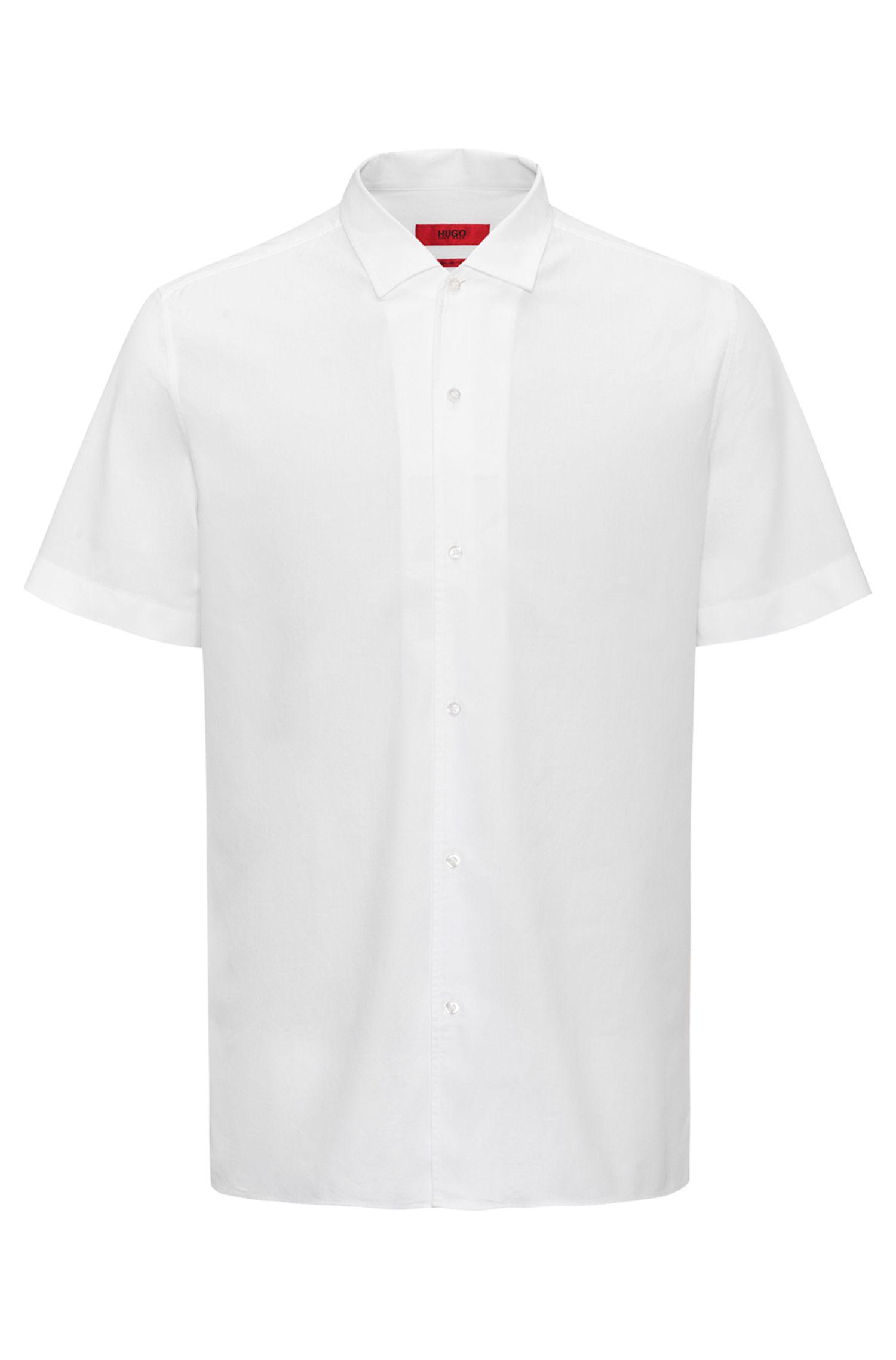 Regular-Fit Kurzarm-Hemd aus strukturierter Baumwolle