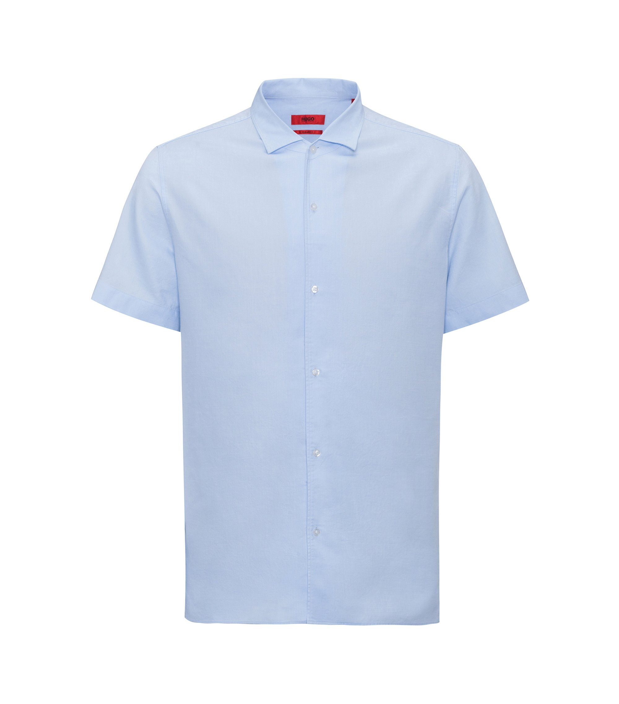 Chemise à manches courtes Regular Fit en coton structuré, Bleu vif