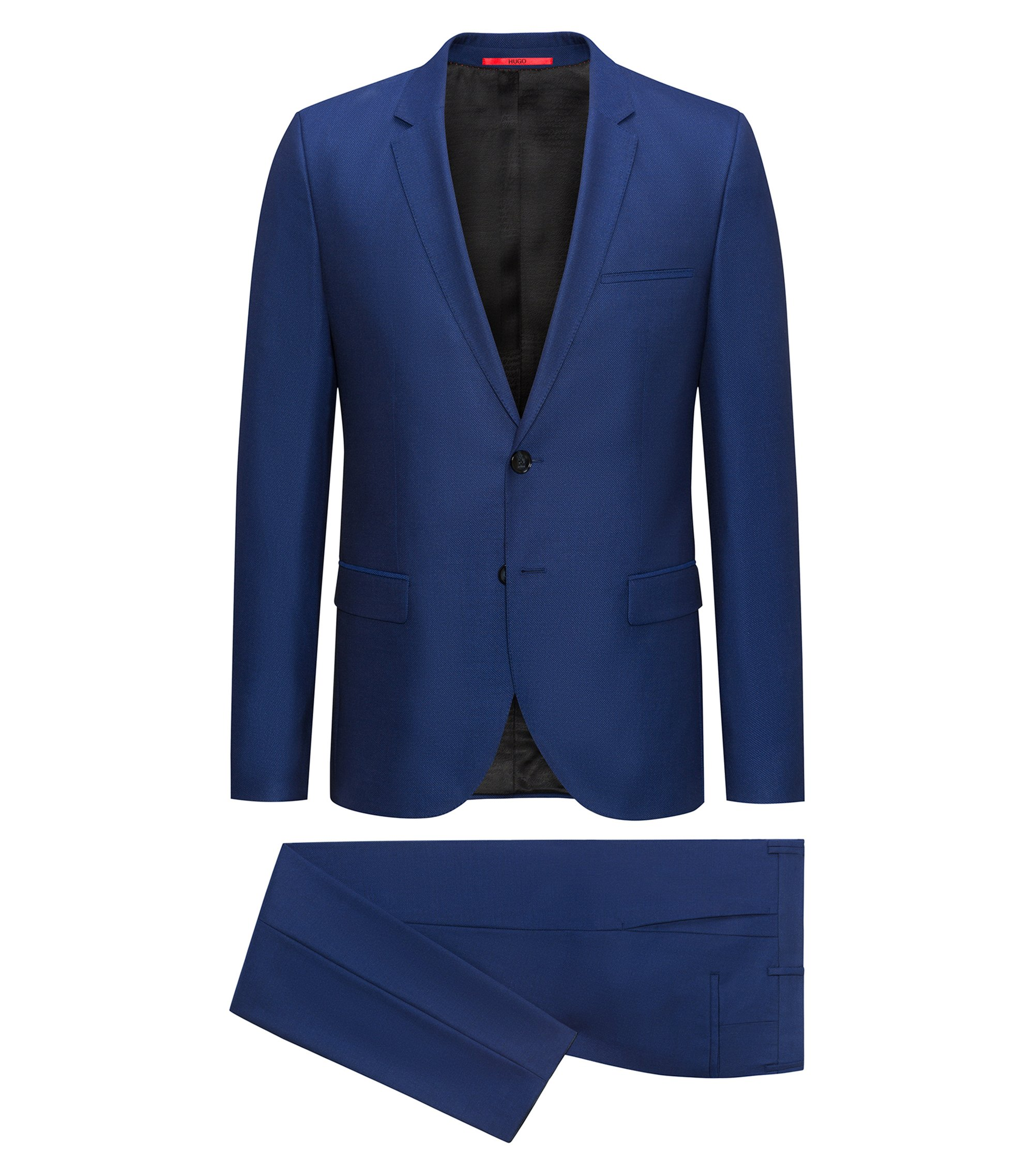 Extra-slim-fit suit in virgin wool with a touch of silk, Blue
