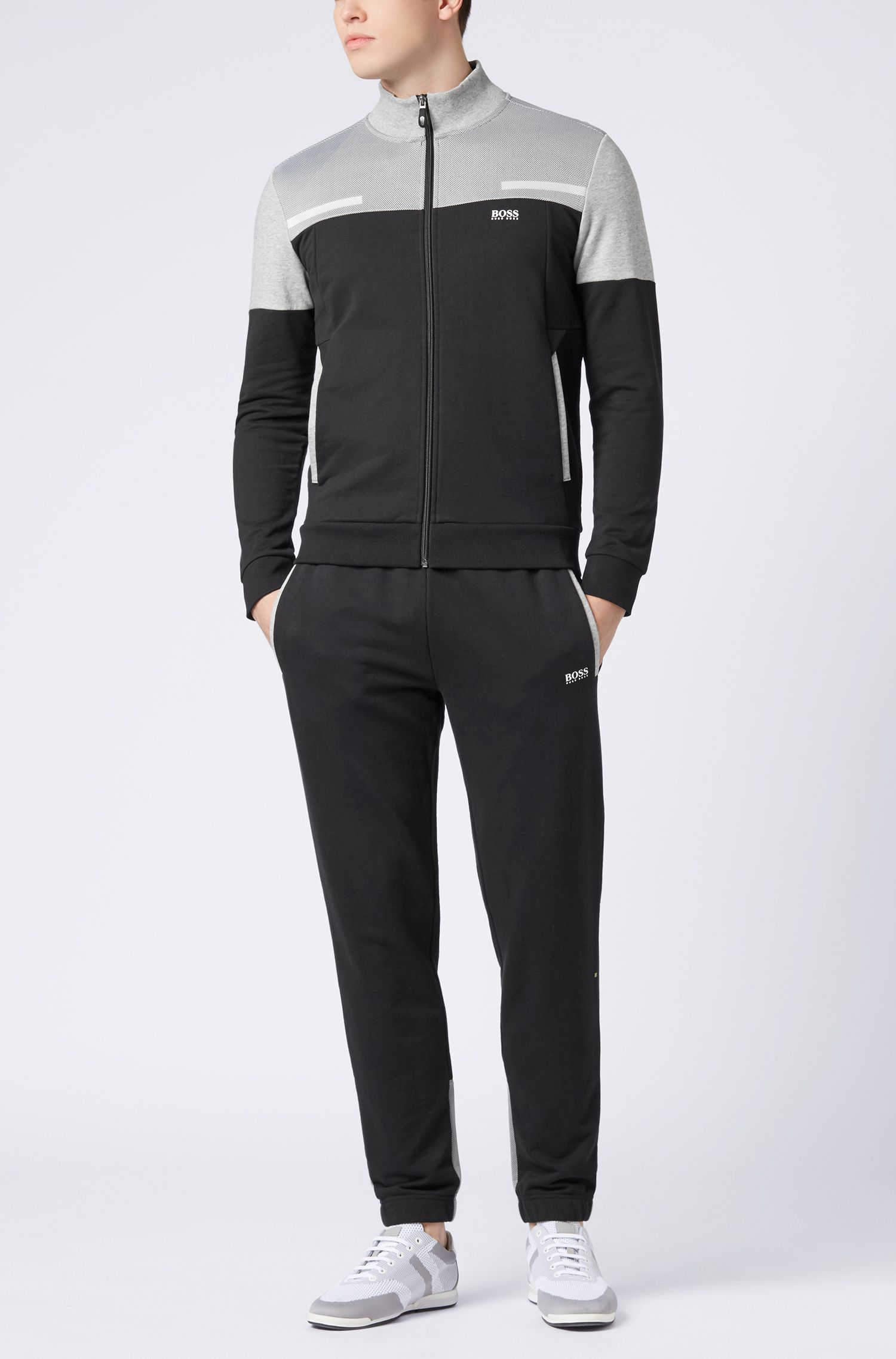 Zip-through colourblock jacket in French terry