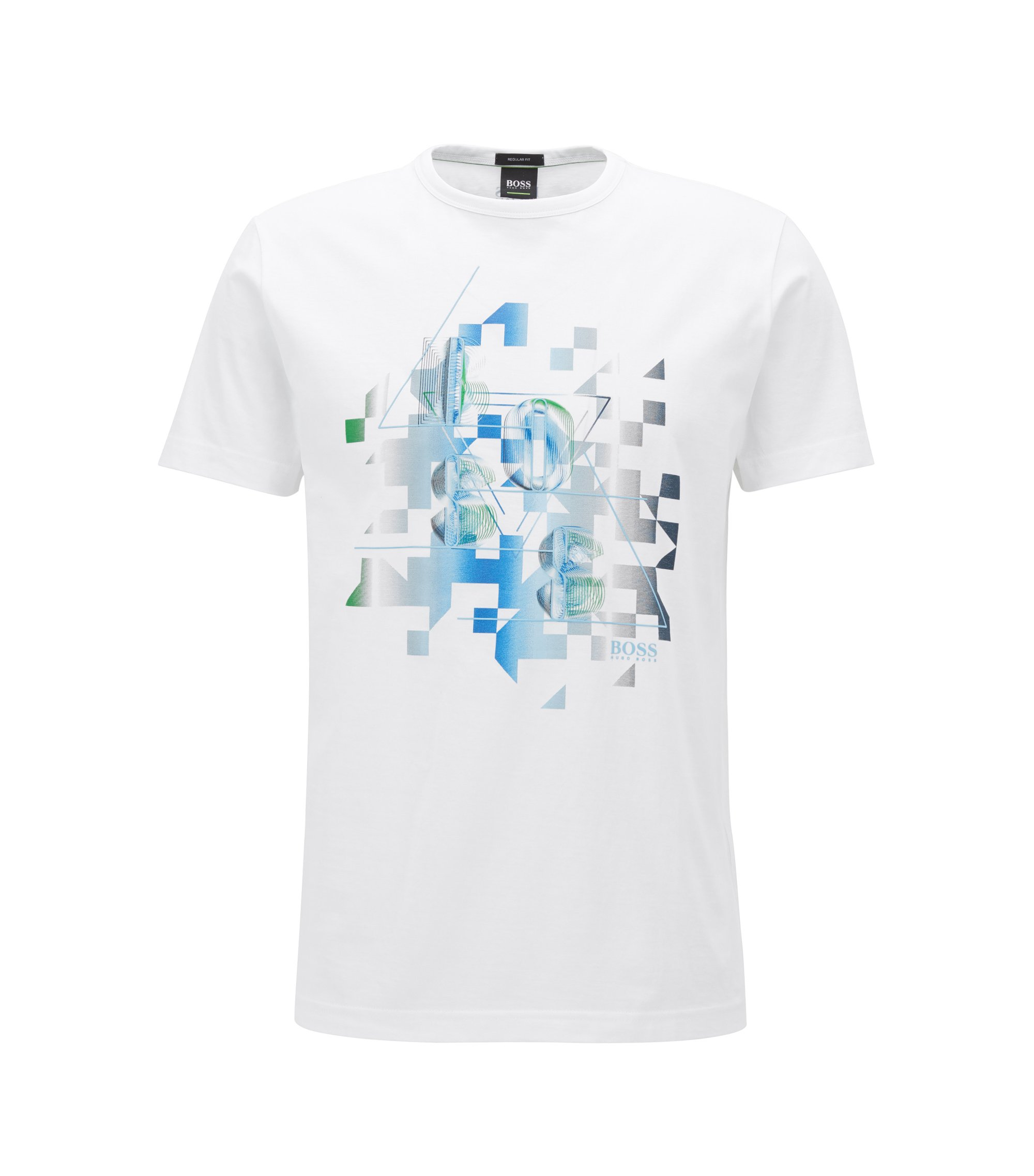 Cotton T-shirt with dynamic artwork, White
