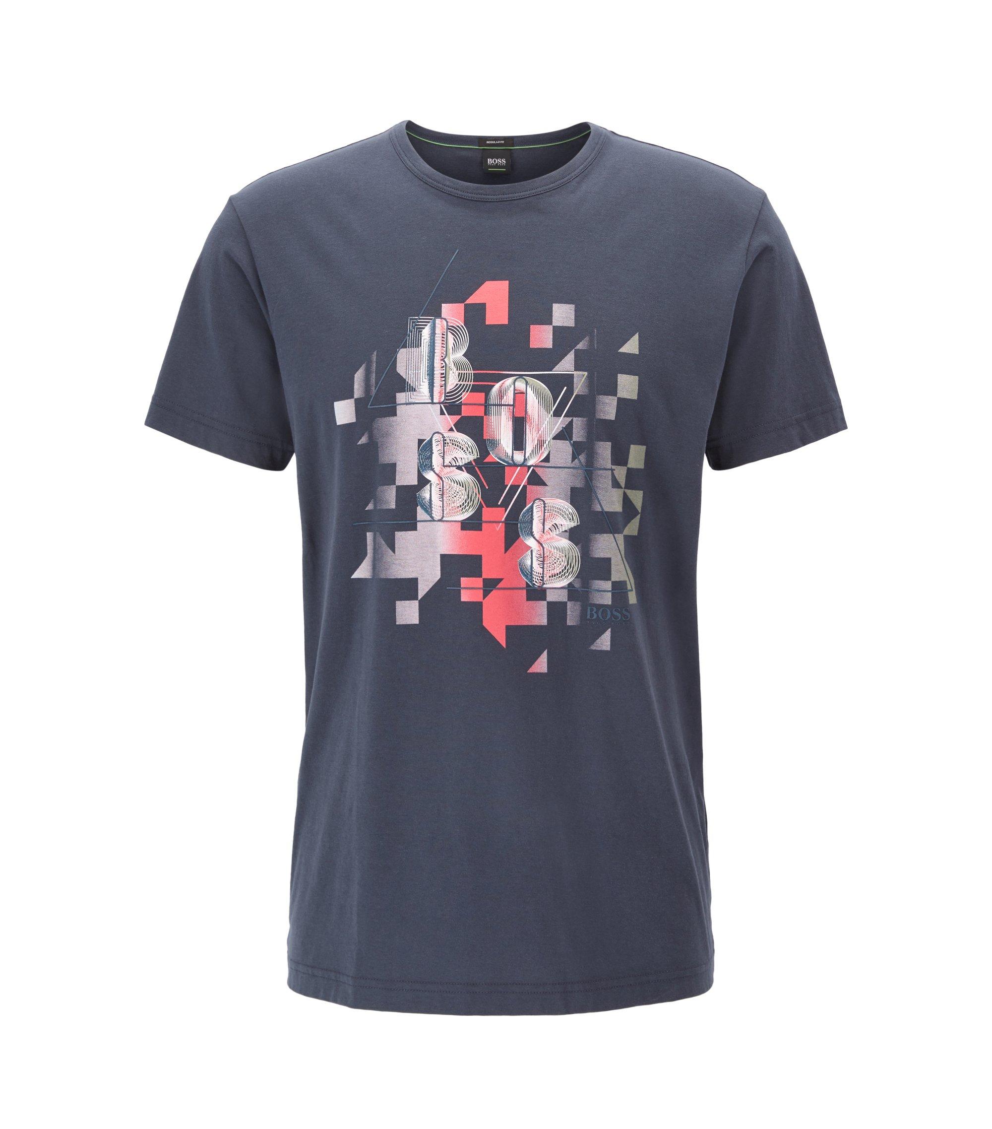 T-shirt en coton à motif artistique dynamique, Bleu foncé