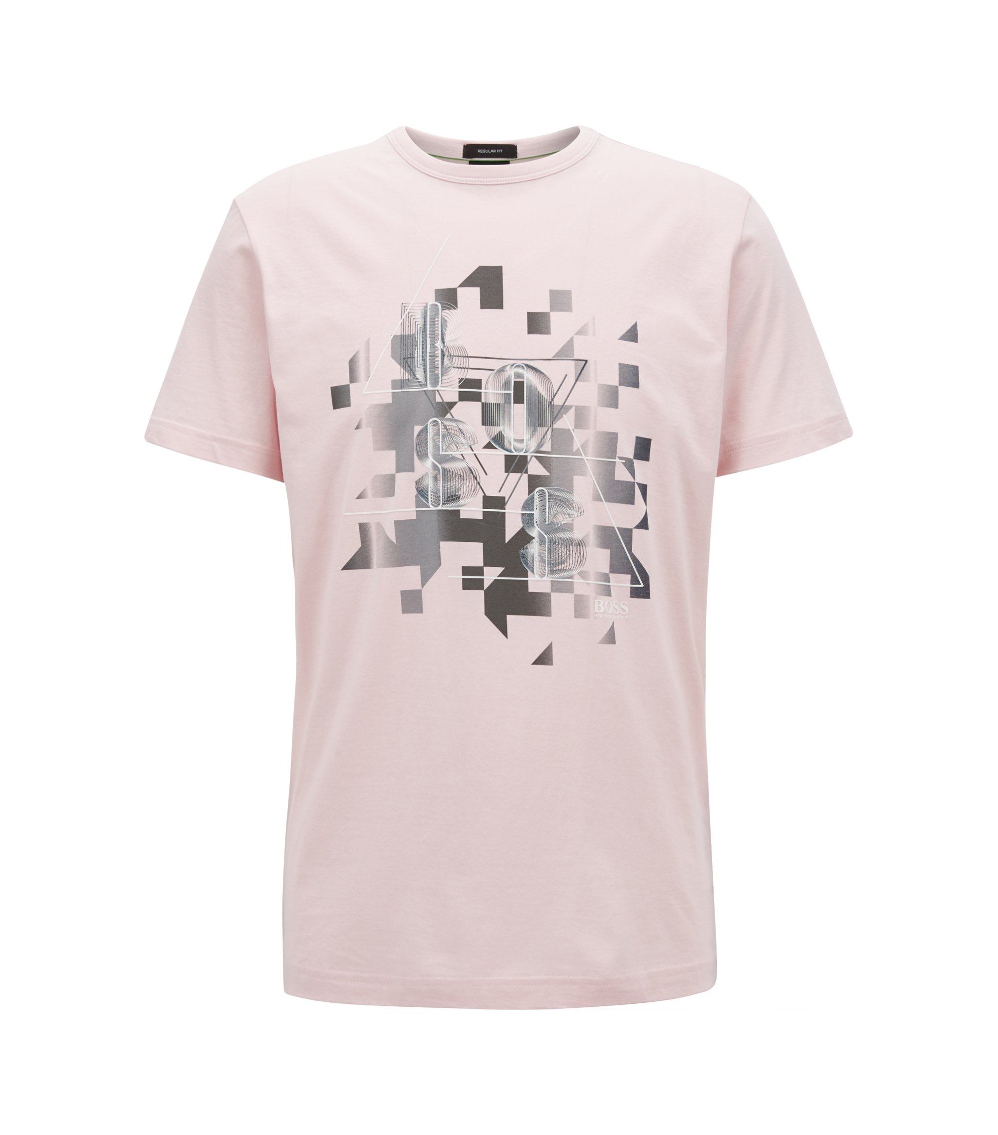 Cotton T-shirt with dynamic artwork, light pink
