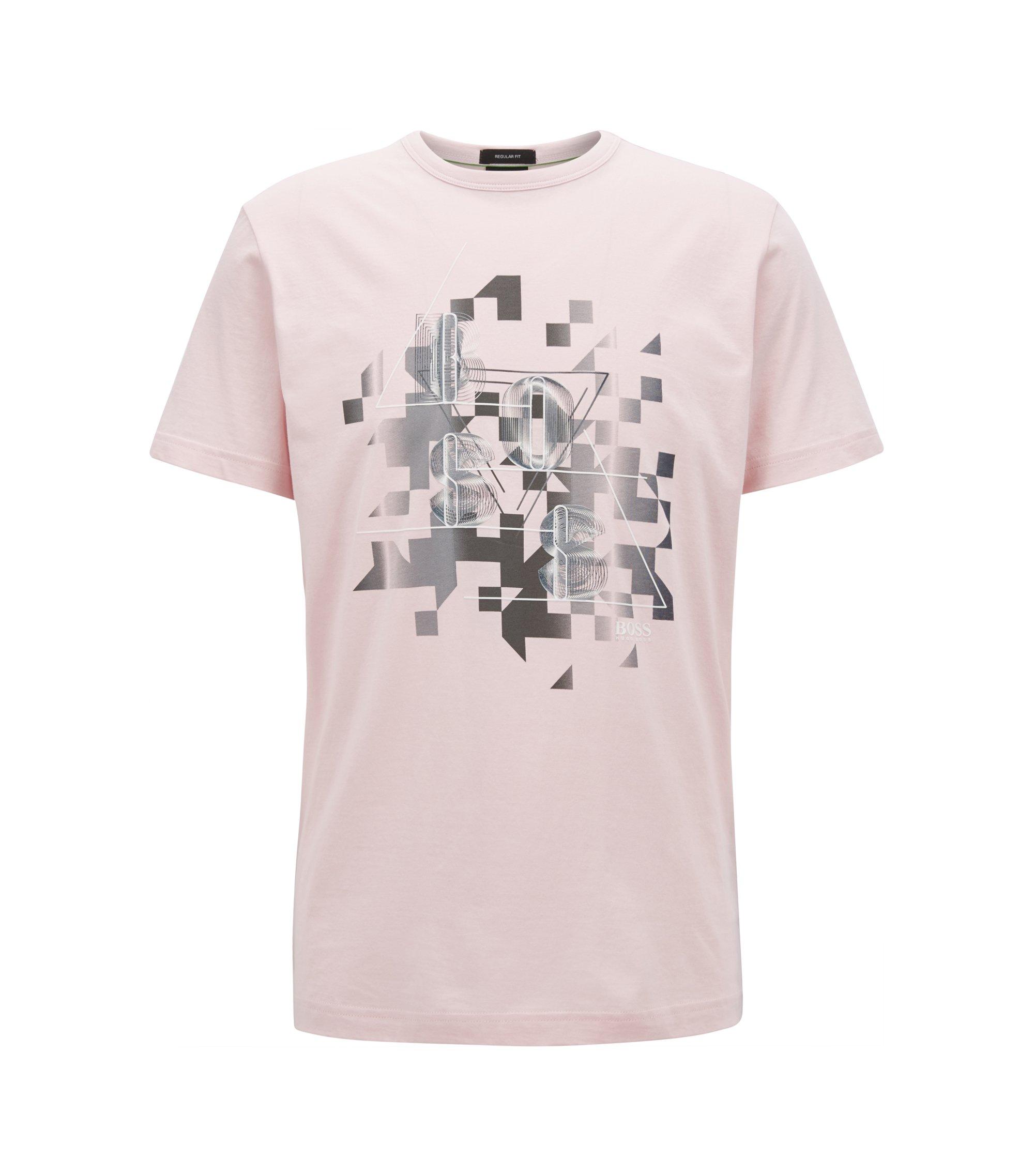 T-Shirt aus Baumwolle mit dynamischem Print, Hellrosa