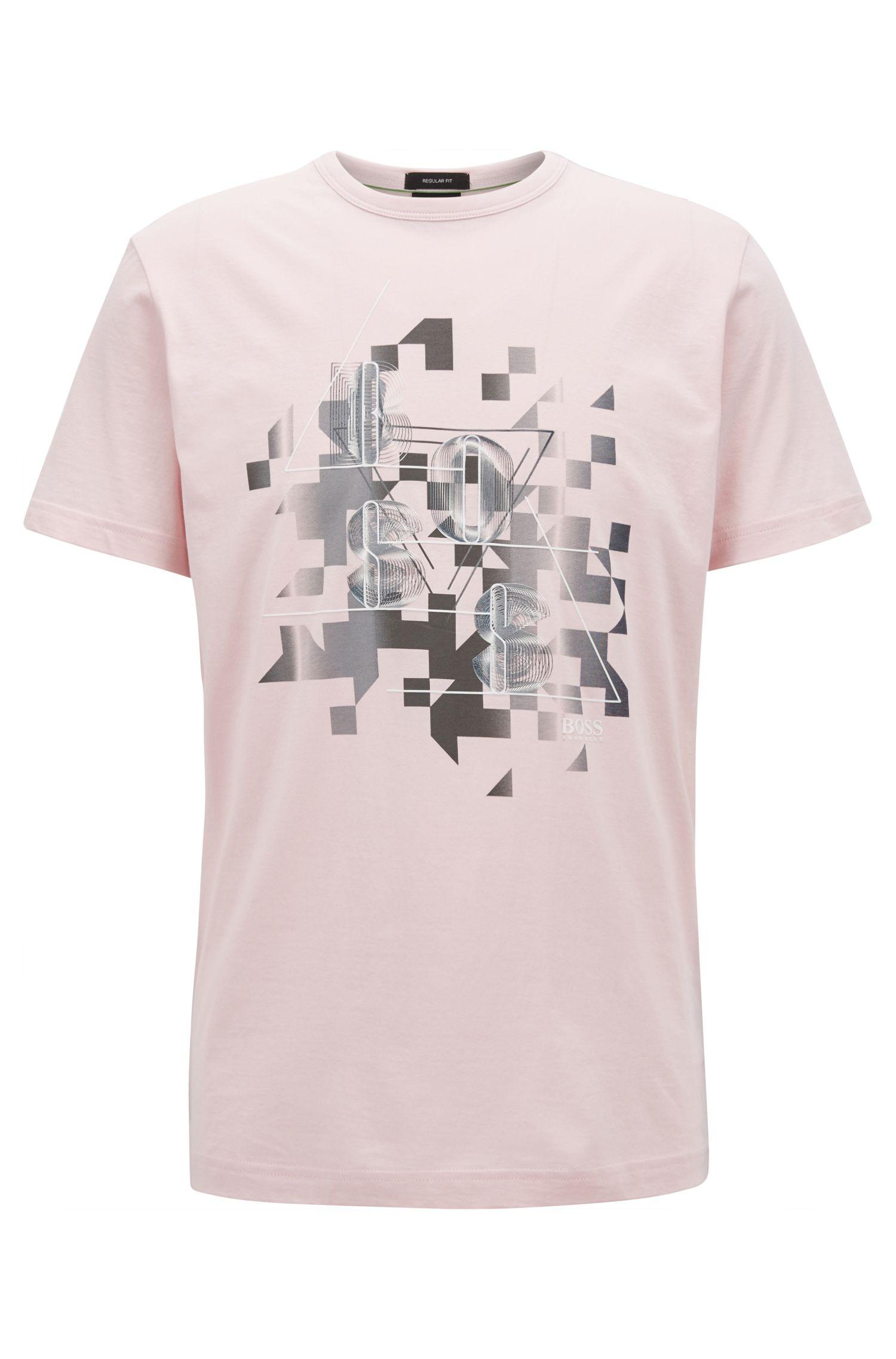 T-shirt in cotone con decorazione dinamica