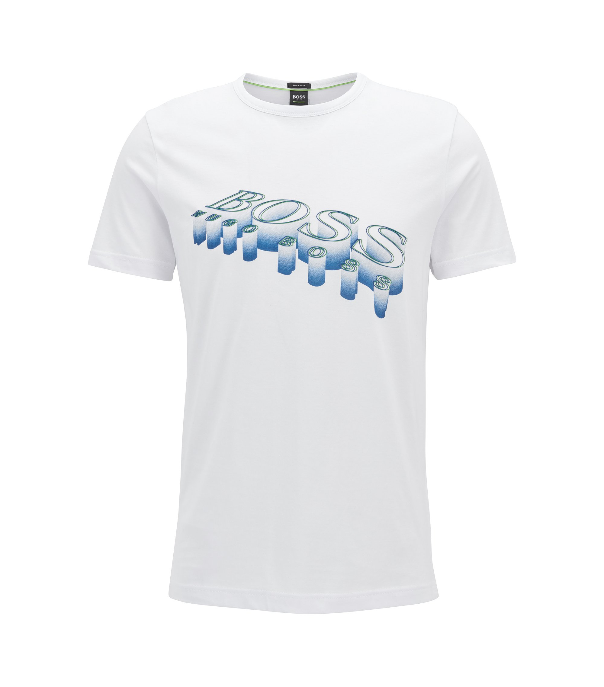 3D-logo T-shirt in soft cotton, White