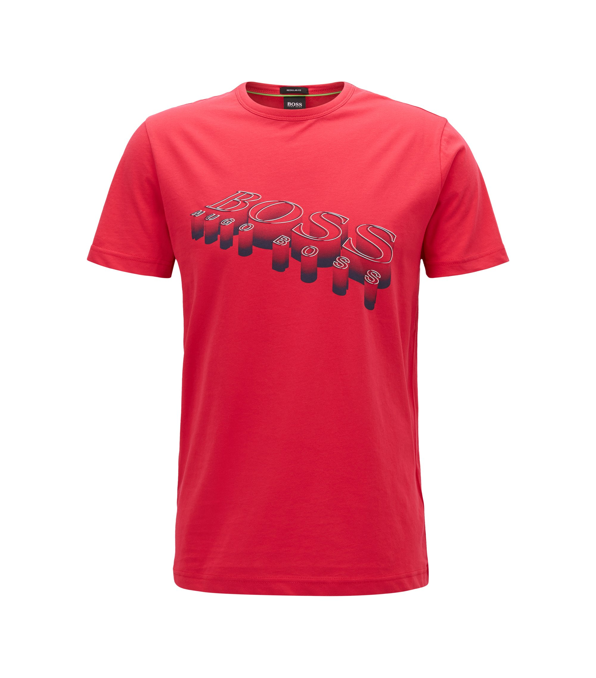 Regular-Fit T-Shirt aus softer Baumwolle mit 3D-Logo, Rot