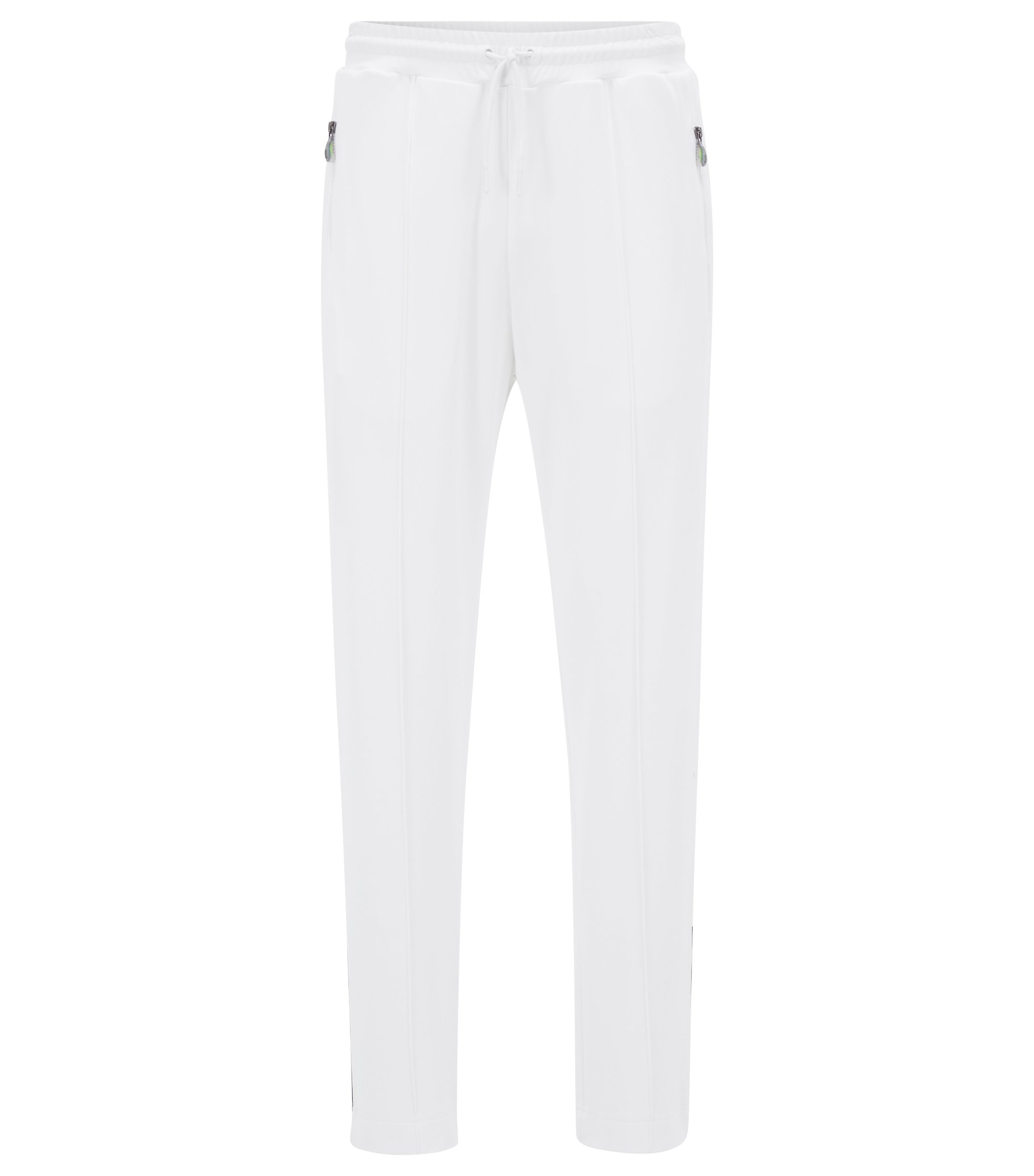 Straight-leg jogging bottoms in interlock piqué, White