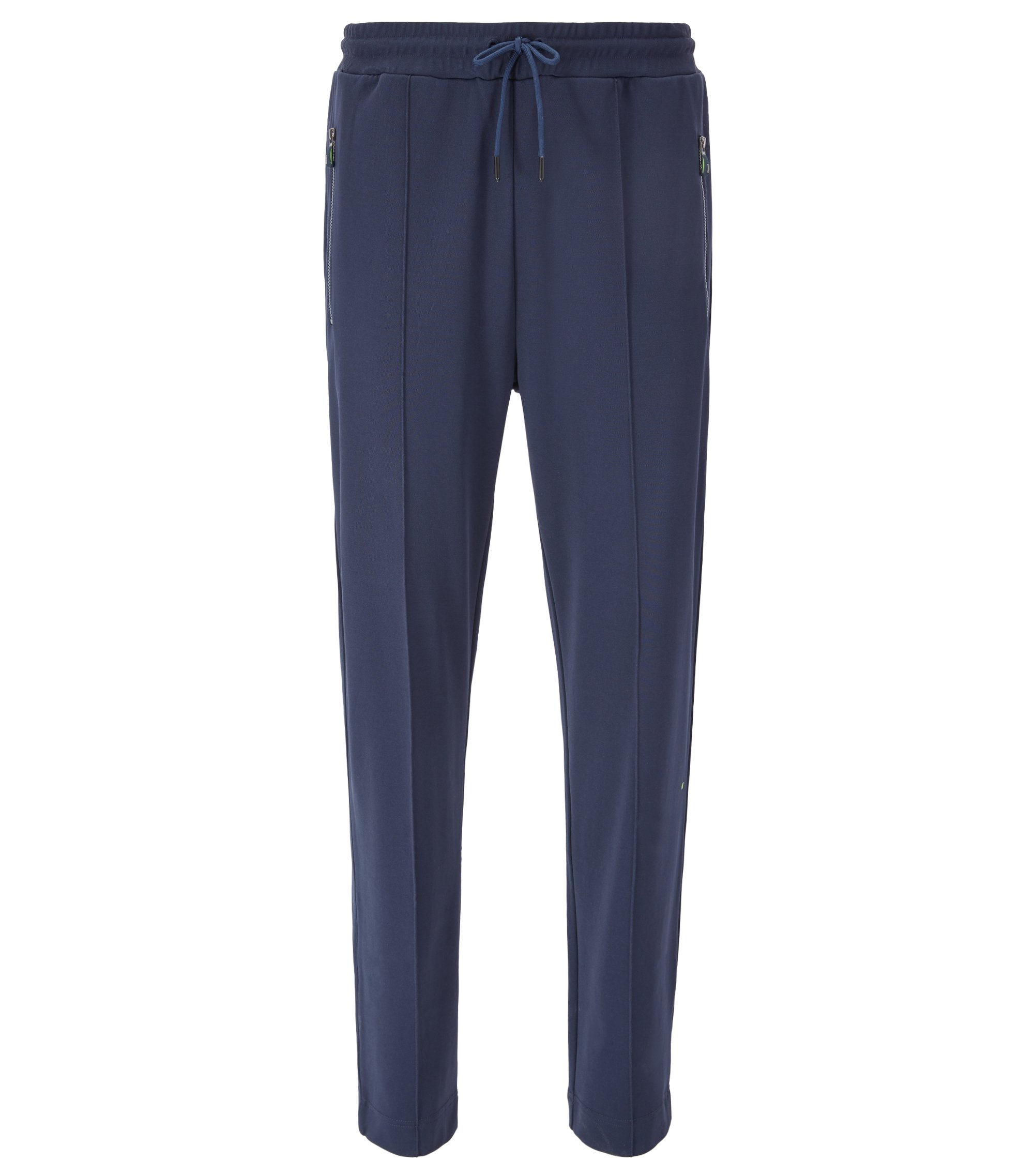 Straight-leg jogging bottoms in interlock piqué, Dark Blue