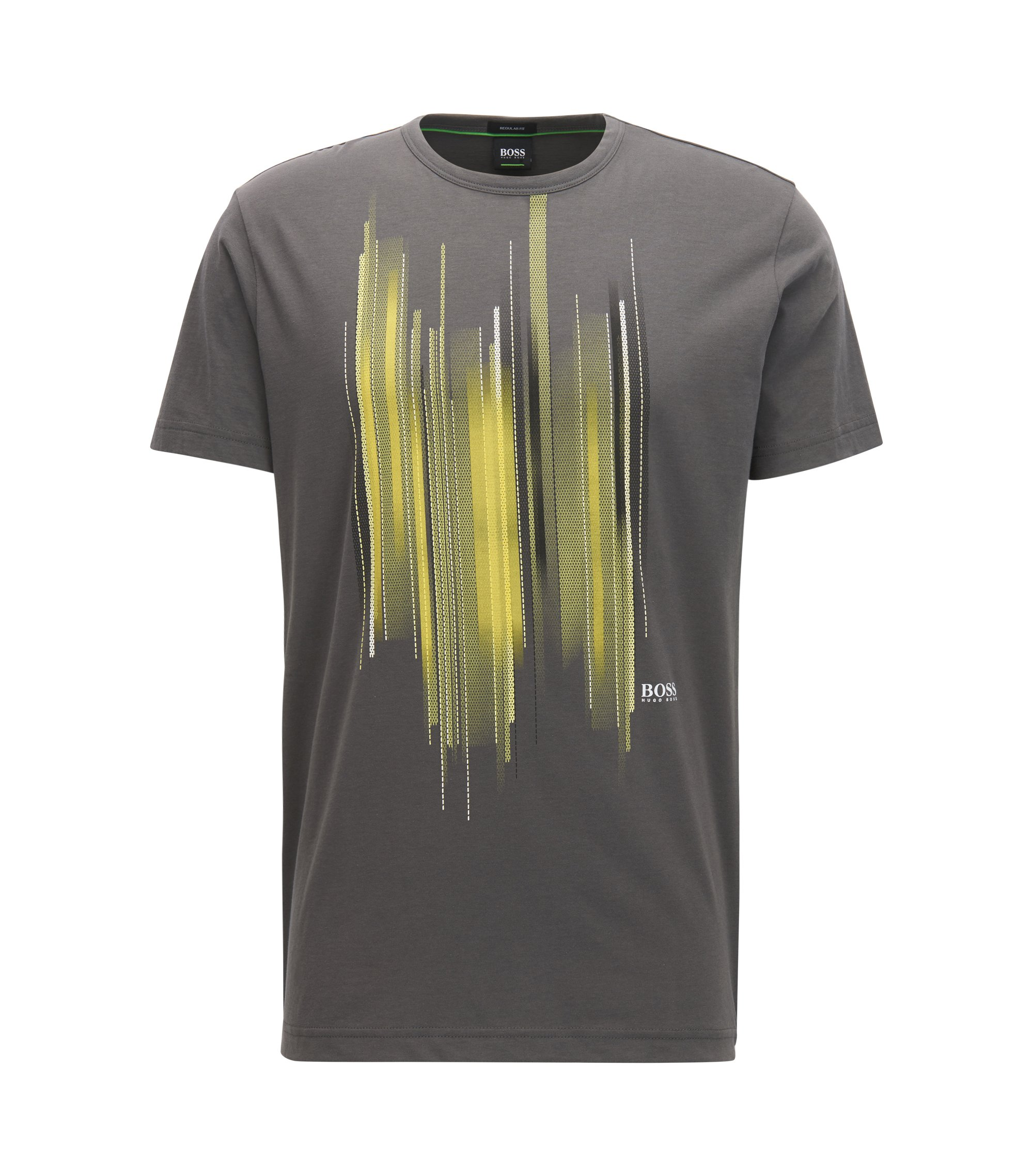 Cotton T-shirt with graphic print, Anthracite