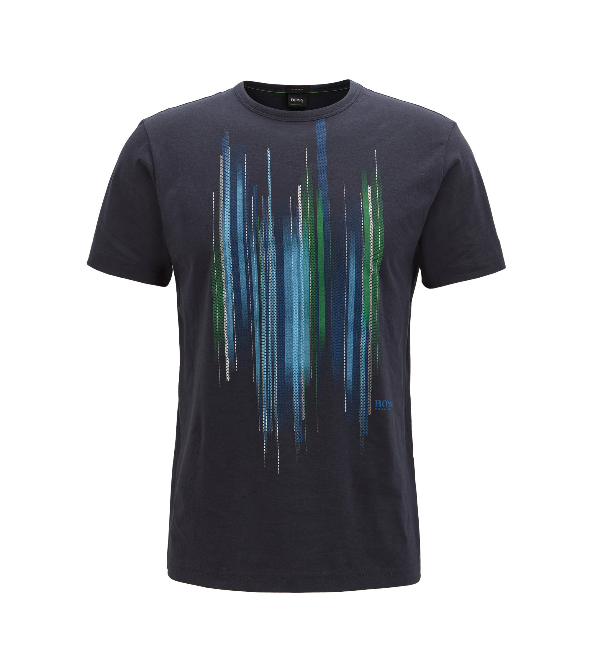 Cotton T-shirt with graphic print, Dark Blue