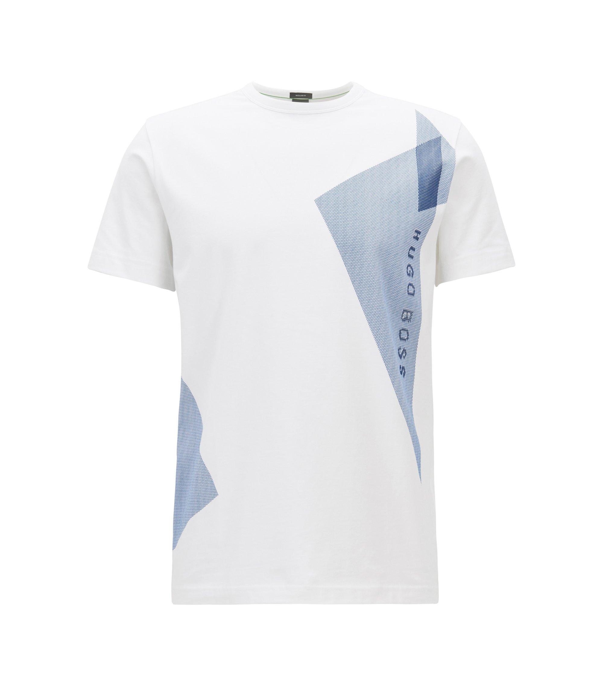 T-shirt in cotone elasticizzato con decorazione con logo, Bianco