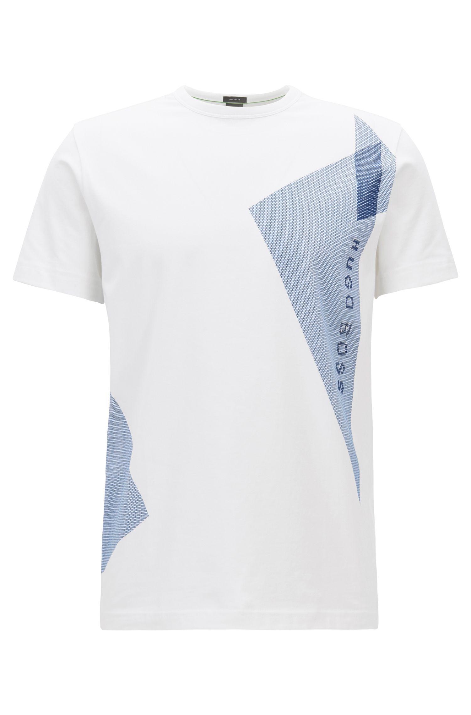Stretch-cotton T-shirt with logo artwork